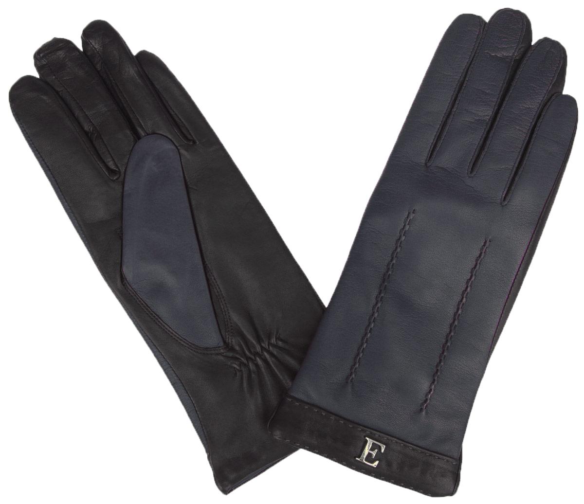 Перчатки женские. HP697HP697Стильные женские перчатки Eleganzza не только защитят ваши руки от холода, но и станут великолепным украшением. Перчатки выполнены из натуральной кожи на подкладке из 100% шерсти. На тыльной стороне манжет имеются небольшие сборки резинкой для того, чтобы перчатки лучше сидели. С внешней стороны манжеты украшены контрастными вставками с небольшими декоративными элементами и оригинальной прострочкой. В настоящее время перчатки являются неотъемлемой принадлежностью одежды, вместе с этим аксессуаром вы обретаете женственность и элегантность. Перчатки станут завершающим и подчеркивающим элементом вашего стиля и неповторимости.