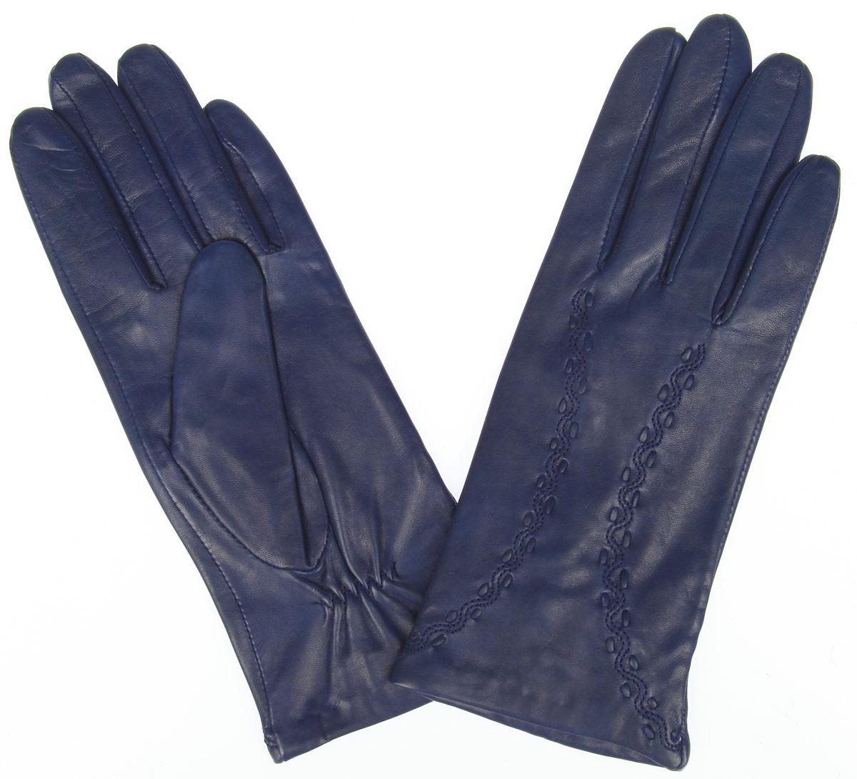 Перчатки женские. 2.62.6-11s blueСтильные женские перчатки Fabretti не только защитят ваши руки от холода, но и станут великолепным украшением. Перчатки выполнены из эфиопский кожи ягненка с подкладкой из шерсти и кашемира. Модель декорирована оригинальной прострочкой. В настоящее время перчатки являются неотъемлемой частью гардероба, вместе с этим аксессуаром вы обретаете женственность и элегантность. Перчатки станут завершающим и подчеркивающим элементом вашего стиля и неповторимости.