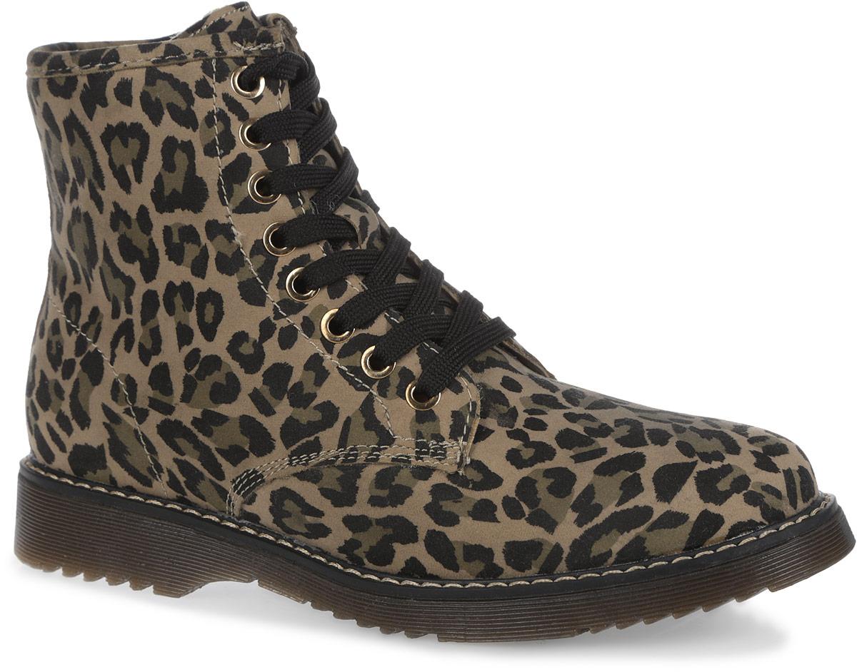 Ботинки для девочки. 558115/01558115/01-12FСтильные ботинки Keddo - отличный вариант на каждый день. Модель выполнена из искусственной замши, оформленной леопардовым принтом и светлой прострочкой. Верх изделия оформлен шнуровкой, которая надежно фиксирует модель на ноге. Отверстия для шнурков с металлическими люверсами. Подкладка и стелька из натуральной шерсти защитят ноги от холода и обеспечат комфорт. Ботинки застегиваются на застежку-молнию, расположенную на одной из боковых сторон. Подошва с рельефным протектором обеспечивает отличное сцепление с любой поверхностью. Стильные ботинки отлично подойдут как для простой прогулки, так и для дальней поездки.