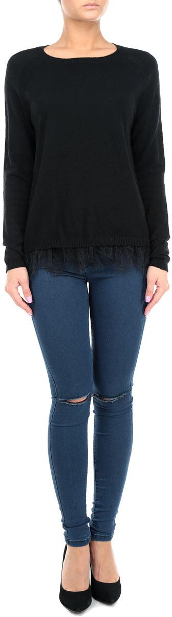 Пуловер10153793 858Стильный женский пуловер Broadway, изготовленный из высококачественного комбинированного материала, мягкий и приятный на ощупь, не сковывает движений и обеспечивает наибольший комфорт. Модель с круглым вырезом горловины и длинными рукавами реглан великолепно подойдет для создания современного образа в стиле Casual. Пуловер украшен кружевом по низу. Манжеты рукавов изделия связаны резинкой. Этот пуловер послужит отличным дополнением к вашему гардеробу. В нем вы всегда будете чувствовать себя уютно и комфортно в прохладную погоду.