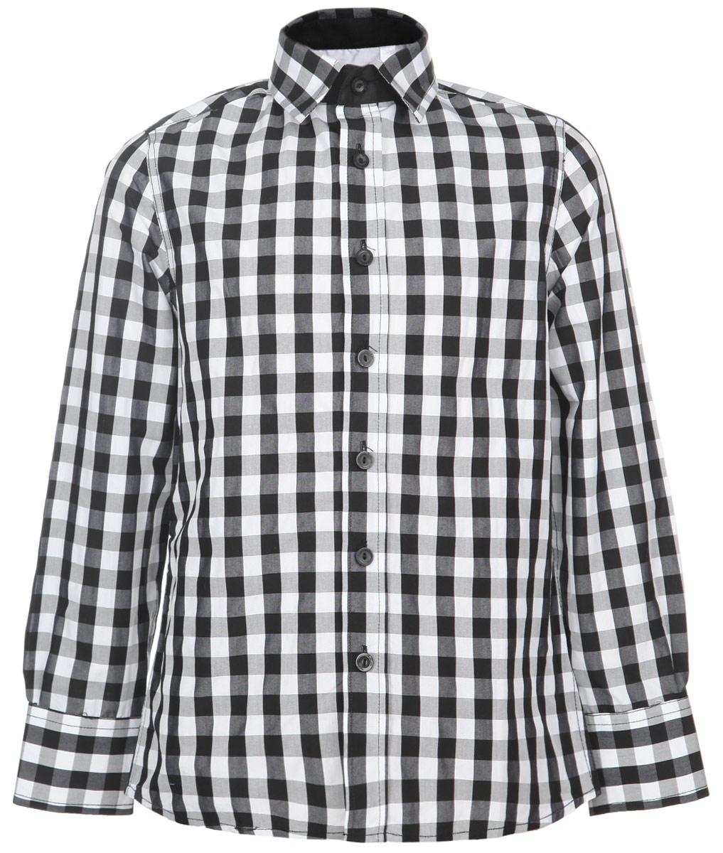 Рубашка215 01 BS C 2315Стильная рубашка для мальчика Gulliver идеально подойдет вашему маленькому мужчине. Изготовленная из натурального хлопка, она необычайно мягкая и приятная на ощупь, не сковывает движения и позволяет коже дышать, не раздражает даже самую нежную и чувствительную кожу ребенка, обеспечивая ему наибольший комфорт. Рубашка классического кроя с отложным воротничком застегивается на пуговицы по всей длине. Рукава имеют широкие манжеты, застегивающиеся на пуговички. Оформлено изделие принтом в клетку. Современный дизайн и расцветка делают эту рубашку модным и стильным предметом детского гардероба. В ней ваш ребенок всегда будет в центре внимания!
