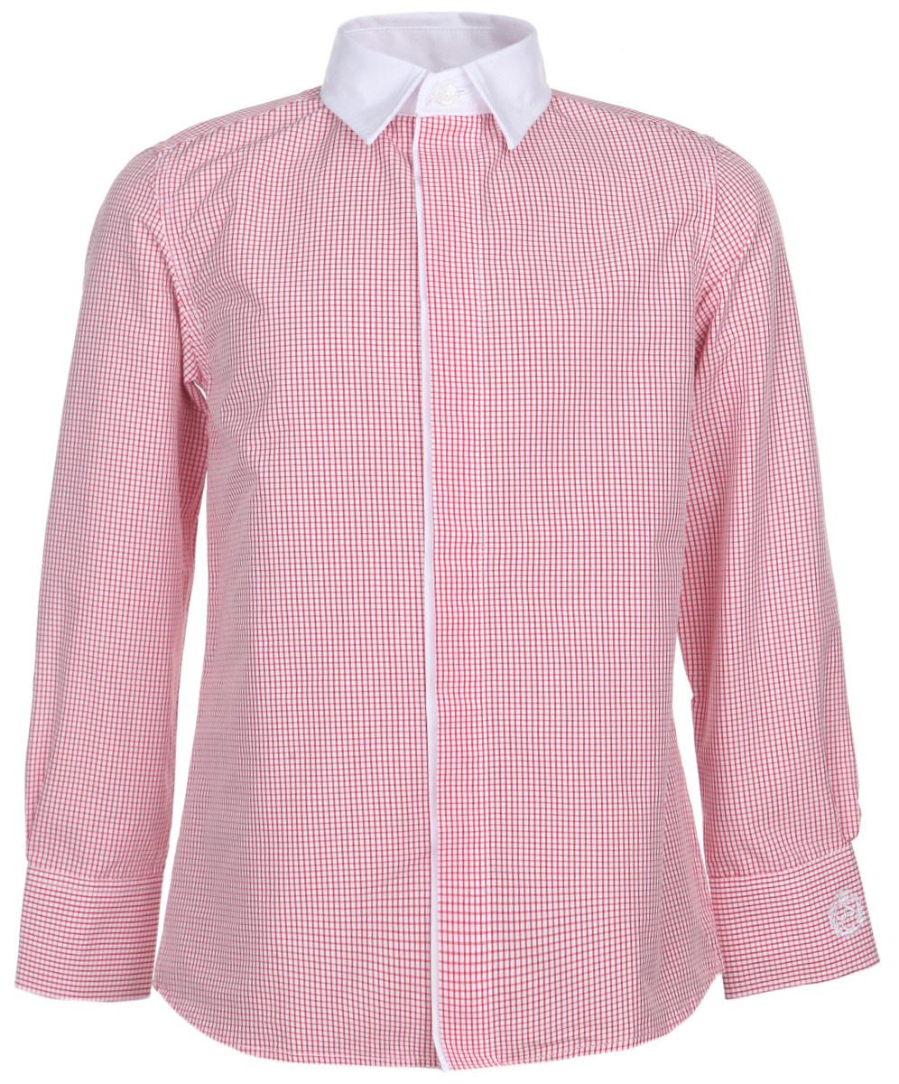 Рубашка для мальчика. 215 01 BS C 2306215 01 BS C 2306Стильная рубашка для мальчика Gulliver идеально подойдет вашему маленькому мужчине. Изготовленная из натурального хлопка, она необычайно мягкая и приятная на ощупь, не сковывает движения и позволяет коже дышать, не раздражает даже самую нежную и чувствительную кожу ребенка, обеспечивая ему наибольший комфорт. Рубашка классического кроя с отложным воротничком контрастного цвета застегивается на пуговицы, скрытые под планкой. Рукава имеют широкие манжеты, застегивающиеся на пуговички. Оформлено изделие принтом в мелкую клетку, а также небольшой вышивкой на рукаве. Современный дизайн и расцветка делают эту рубашку модным и стильным предметом детского гардероба. В ней ваш ребенок всегда будет в центре внимания!