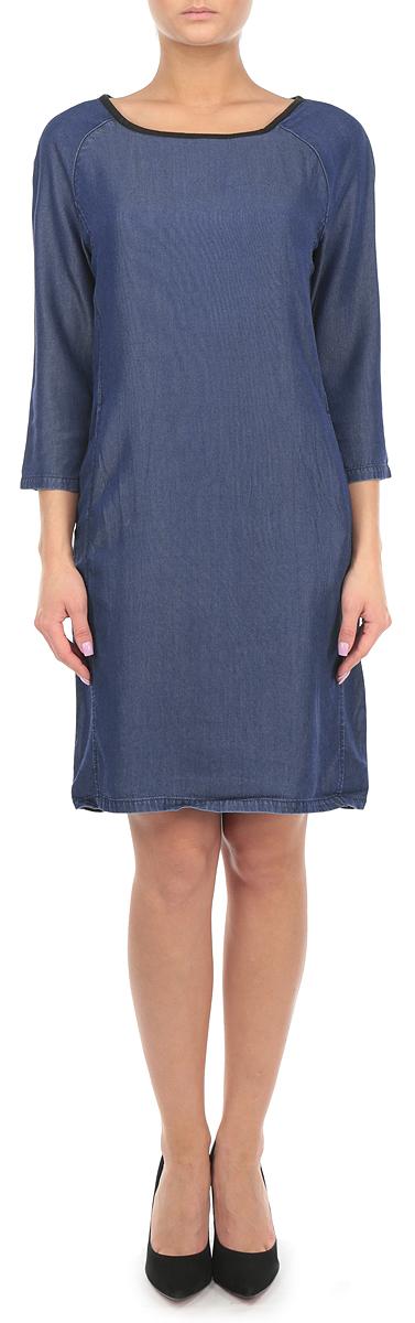 Платье. SSC0007NISSC0007NIСтильное платье Top Secret идеально подойдет для вас и подчеркнет вашу индивидуальность. Выполненное из лиоцелла, оно очень мягкое и приятное на ощупь, не сковывает движений, обеспечивая комфорт. Модель с круглым вырезом горловины и рукавами 3/4 застегивается на небольшую молнию на спинке. Спереди предусмотрены два втачных кармана. Вырез горловины оформлен бейкой из искусственной кожи. Такое платье непременно украсит ваш гардероб и добавит образу женственности.