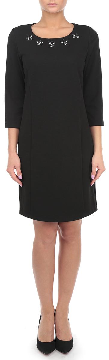 Платье10152886_999Платье Broadway идеально подойдет для вас и станет эффектным дополнением к вашему гардеробу. Выполненное из эластичного полиэфира, оно мягкое и приятное на ощупь, не сковывает движений, обеспечивая комфорт. Подкладка изделия изготовлена из полиэфира. Платье с круглым вырезом горловины и рукавами 3/4 застегивается на скрытую молнию на спинке. Модель слегка приталенного кроя декорирована спереди крупными стразами. Такое платье подчеркнет достоинства вашей фигуры и поможет создать яркий и привлекательный образ.