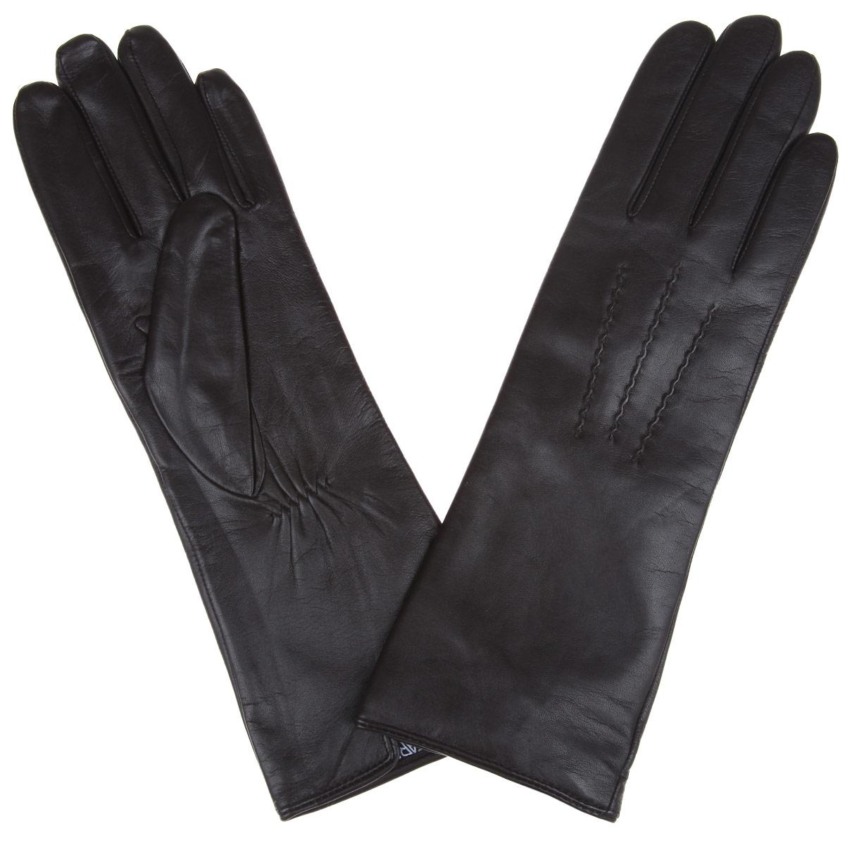 Перчатки12.6-10Восхитительные женские перчатки Fabretti, выполненные из эфиопской натуральной кожи ягненка на подкладке из хлопка с добавлением кашемира, не только защитят ваши руки от холода, но и станут стильным дополнением вашего образа. Лицевая сторона оформлена аккуратной прострочкой три луча. Слегка удлиненные манжеты с тыльной стороны присборены на эластичную резинку для лучшей фиксации. Такие перчатки подчеркнут ваш стиль и неповторимость, и придадут всему образу нотки женственности и элегантности.