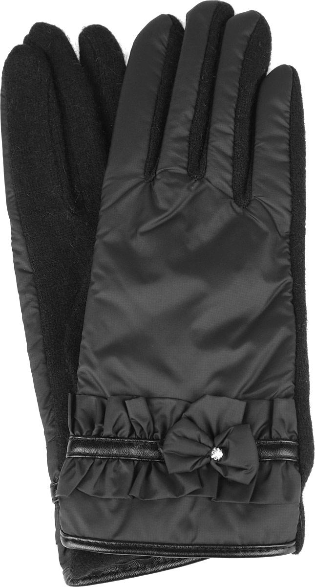 Перчатки женские. 95009649500964-02Стильные женские перчатки Venera не только защитят ваши руки от холода, но и станут великолепным украшением. Перчатки выполнены из высококачественного комбинированного материала (внешняя сторона - нейлон, тыльная сторона - шерсть). Подкладка внешней стороны выполнена из ангоры и утеплена слоем полиамида. С внешней стороны изделие украшено декоративным ремешком, бантиком со стразом и рюшами. В настоящее время перчатки являются неотъемлемой принадлежностью гардероба, вместе с этим аксессуаром вы обретаете женственность и элегантность. Перчатки станут завершающим и подчеркивающим элементом вашего стиля и неповторимости.