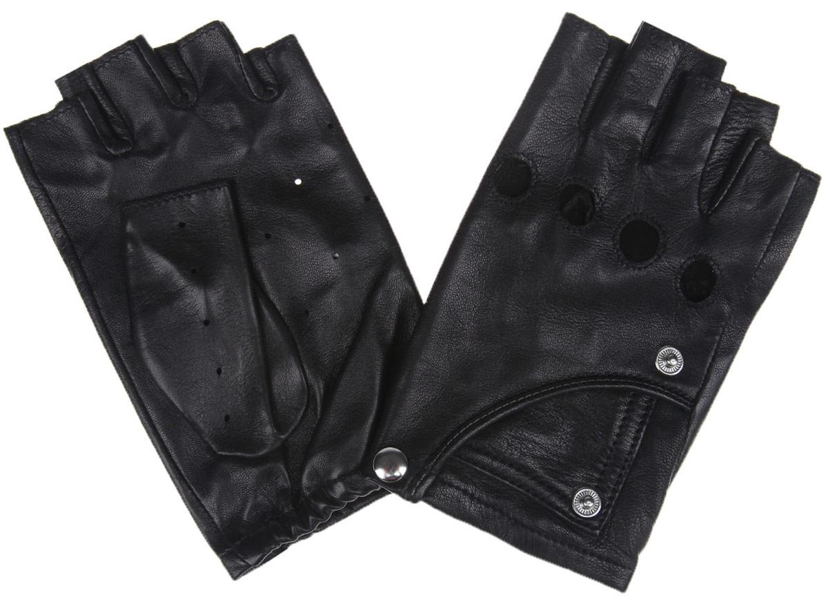 Перчатки без пальцев женские. 2.632.63-1Женские автомобильные перчатки Fabretti выполнены из мягкой и приятной на ощупь натуральной кожи ягненка. Модель с открытыми пальцами. Благодаря специальным вентиляционным отверстиям и перфорации рукам будет комфортно. На внешней стороне изделие оформлено декоративными кнопками и дополнена имитацией кармашка. Такие перчатки подчеркнут ваш стиль и неповторимость.