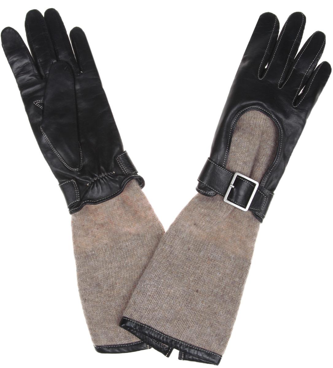Перчатки женские 2в1. 13_AUSSI13_AUSSI/BL.GRСтильные перчатки 2в1 Dali Exclusive выполнены из мягкой и приятной на ощупь натуральной кожи ягненка и натуральной шерсти. Перчатки 2в1 представляют собой два вида перчаток - одни выполнены из натуральной кожи, а другие - из 100% шерсти. Перчатки из натуральной кожи на лицевой стороне имеют выемку с ремешком на пряжке. С тыльной стороны они присборены на эластичную резинку для лучшей посадки. Оформлено изделие контрастной прострочкой. Шерстяные удлиненные перчатки на манжетах оформлены контрастной вставкой из натуральной кожи. Такие перчатки подчеркнут ваш стиль и неповторимость.
