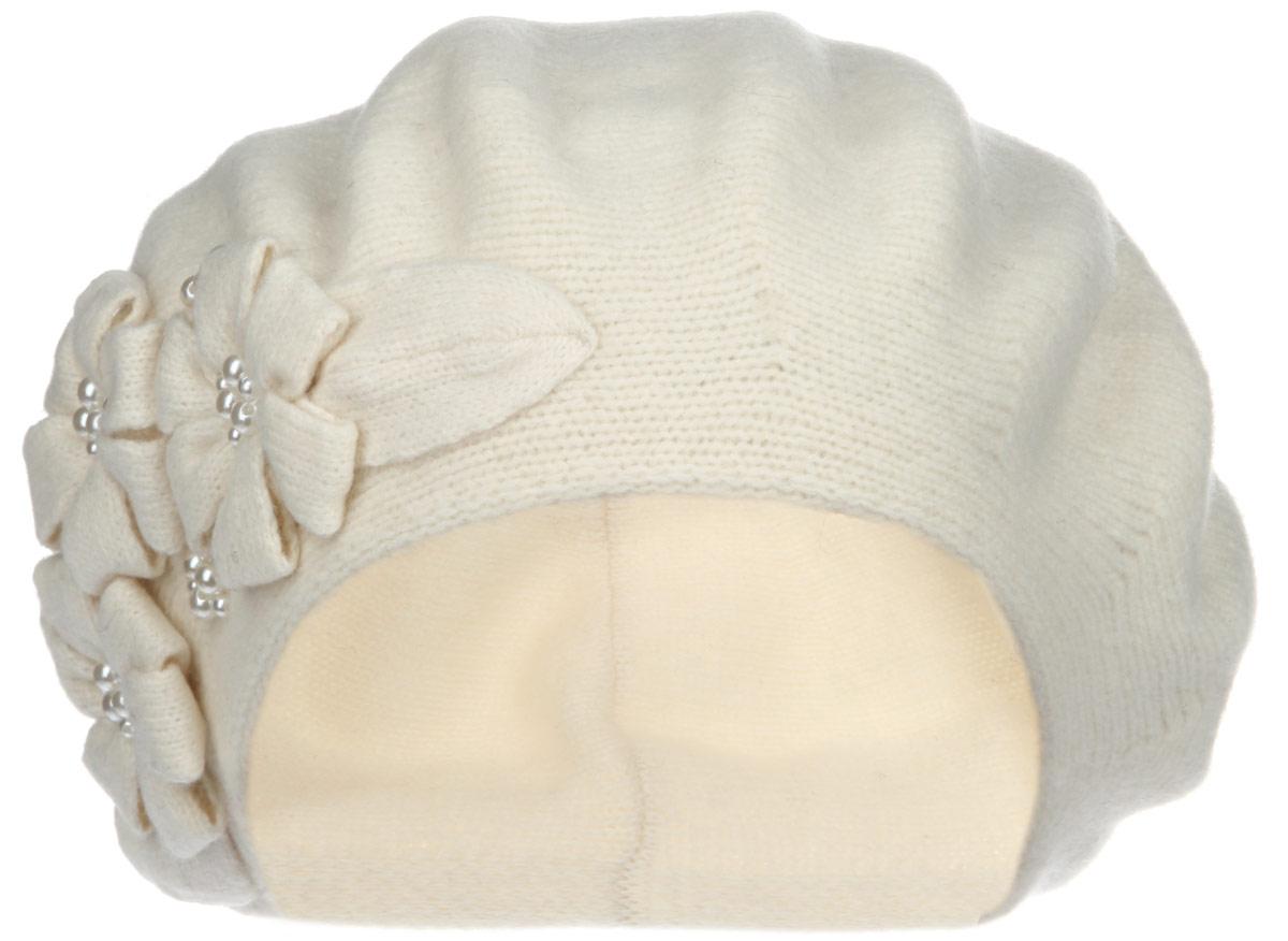Берет женский. 1-0351-035_002Женский берет Flioraj станет отличным дополнением к вашему гардеробу в холодную погоду. Он выполнен из шерсти с добавлением акрила, мягкий и приятный на ощупь, максимально сохраняет тепло. Модель украшена декоративными элементами в виде цветов, а также бусинами. Такой стильный и теплый аксессуар подчеркнет вашу женственность и неповторимость. Уважаемые клиенты! Размер, доступный для заказа, является обхватом головы.