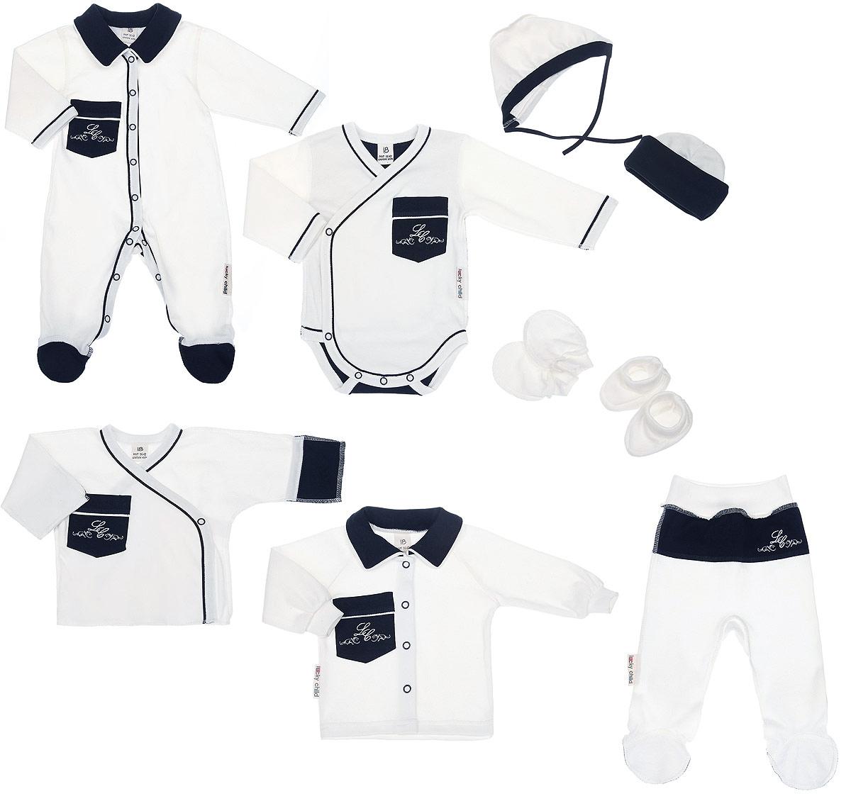 20-1000Комплект для новорожденного Lucky Child Классик - это замечательный подарок, который прекрасно подойдет для первых дней жизни младенца. Комплект состоит из комбинезона, боди-кимоно, распашонки-кимоно, кофточки, ползунков, шапочки, чепчика, рукавичек и пинеток. Изготовленный из натурального хлопка, он необычайно мягкий и приятный на ощупь, не сковывает движения ребенка и позволяет коже дышать, не раздражает даже самую нежную и чувствительную кожу ребенка, обеспечивая ему наибольший комфорт. Комбинезон с длинными рукавами, отложным воротником контрастного цвета и закрытыми ножками имеет застежки-кнопки от горловины до пяточек, которые помогают легко переодеть младенца или сменить подгузник. На груди изделие дополнено накладным кармашком, украшенным вышивкой. Швы выполнены наружу. Удобное боди-кимоно с длинными рукавами и V-образным вырезом горловины имеет удобные застежки- кнопки по принципу кимоно, а также кнопки на ластовице, которые помогают легко...