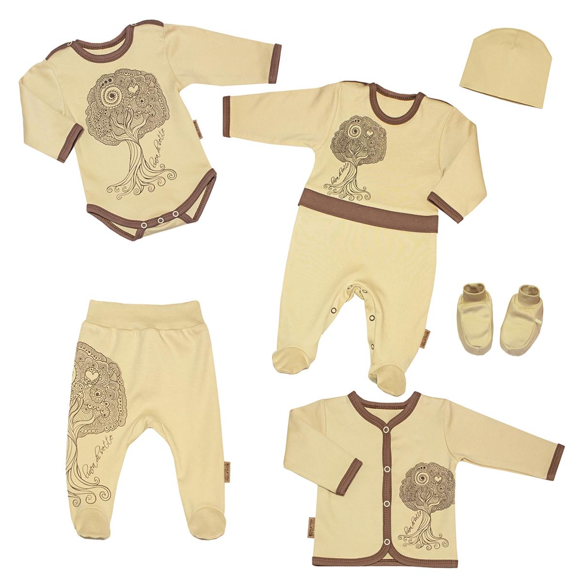 Подарочный комплект для новорожденного Linea Di Sette Дубок, 6 предметов. 04-300104-3001Подарочный комплект для новорожденного Linea Di Sette Дубок - это замечательный подарок, который прекрасно подойдет для первых дней жизни младенца. Комплект состоит из комбинезона, боди, кофточки, ползунков, шапочки и пинеток. Изготовленный из интерлока - органического хлопка, он необычайно мягкий и приятный на ощупь, не сковывает движения ребенка и позволяет коже дышать, не раздражает даже самую нежную и чувствительную кожу ребенка, обеспечивая ему наибольший комфорт. Комбинезон с длинными рукавами и закрытыми ножками имеет застежки-кнопки на плечах и ластовице, которые помогают легко переодеть младенца или сменить подгузник. Отделка комбинезона придает эффект 2 в 1. Оформлено изделие принтом с изображением дерева. С таким комбинезоном спинка и ножки младенца всегда будут в тепле. Удобное боди с длинными рукавами и круглым вырезом горловины имеет удобные застежки-кнопки на плечах и ластовице, которые помогают легко переодеть младенца и сменить подгузник. Боди также...