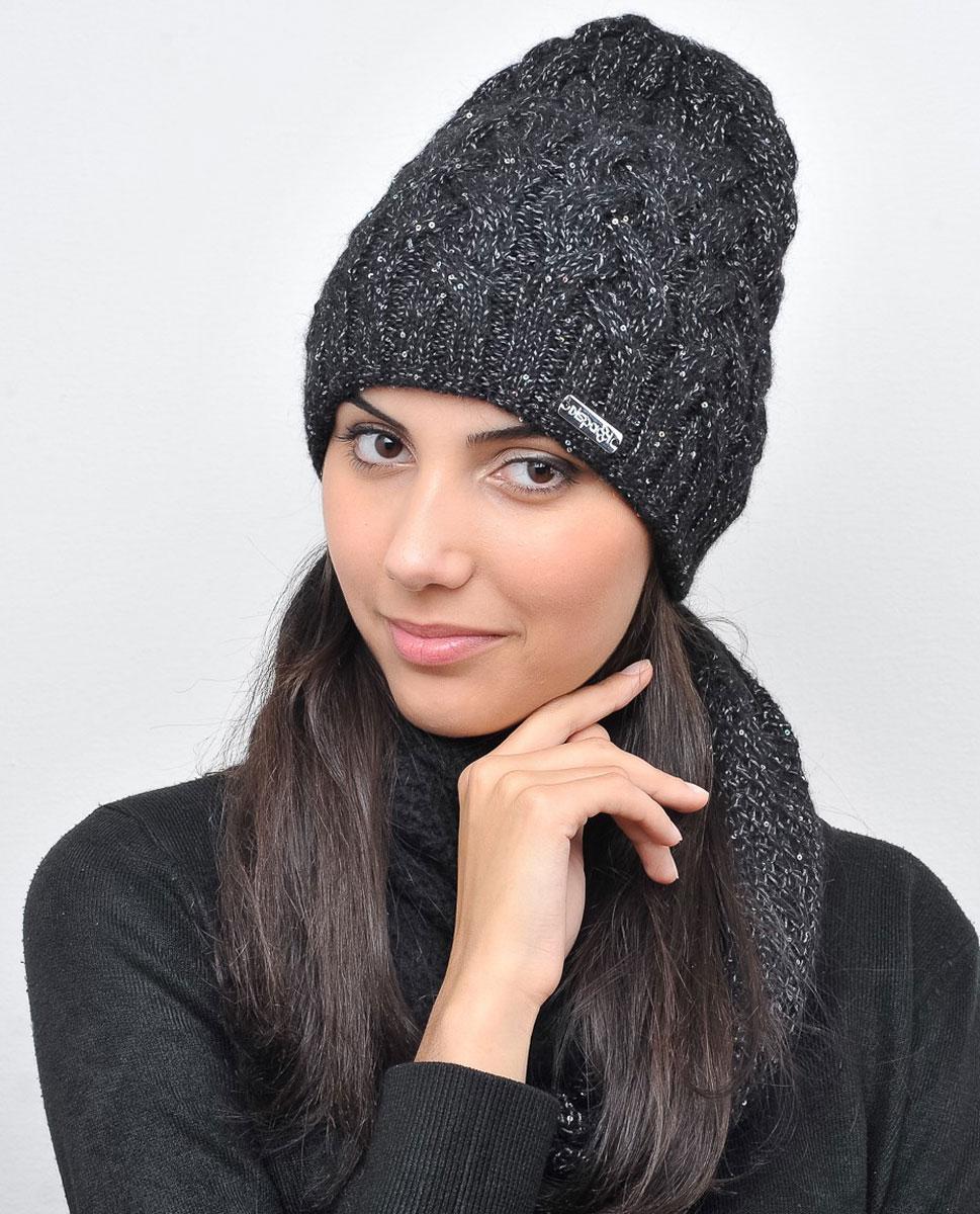 Шапка21014KУдлиненная женская шапка Dispacci Виттори, выполненная из высококачественной шерсти, согреет вас в холодную погоду. Вязка в резинку по нижнему краю изделия обеспечивает удобную посадку. Модель фактурной вязки декорирована переливающимися пайетками по всей поверхности. Мягкий, уютный, модный головной убор станет отличным дополнением к вашему гардеробу.