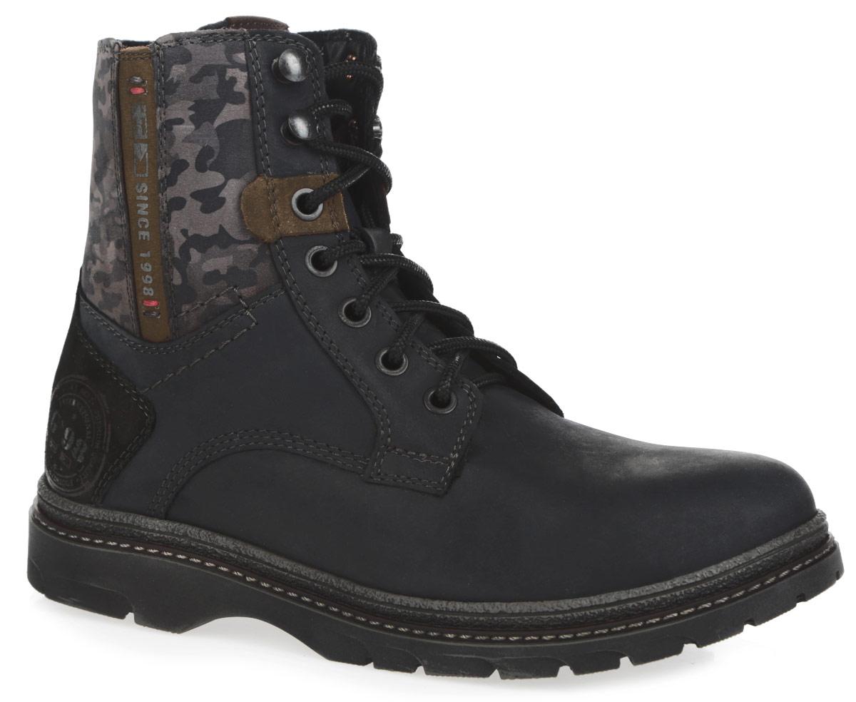 64049-1Модные детские ботинки для мальчика Kapika, выполненные из натурального нубука, оформлены сбоку на голенище принтом камуфляж. Подкладка и съемная стелька, исполненные из натурального меха, защитят ноги от холода и обеспечат комфорт. Верх изделия оформлен шнуровкой, которая надежно фиксирует обувь на ноге и регулирует объем. Язычок декорирован оригинальной нашивкой. На заднике и на одной из боковых сторон модель оформлена надписями. Ботинки застегиваются на застежку-молнию, расположенную сбоку. Подошва с протектором гарантирует идеальное сцепление с любой поверхностью. Стильные ботинки займут достойное место в гардеробе вашего ребенка.