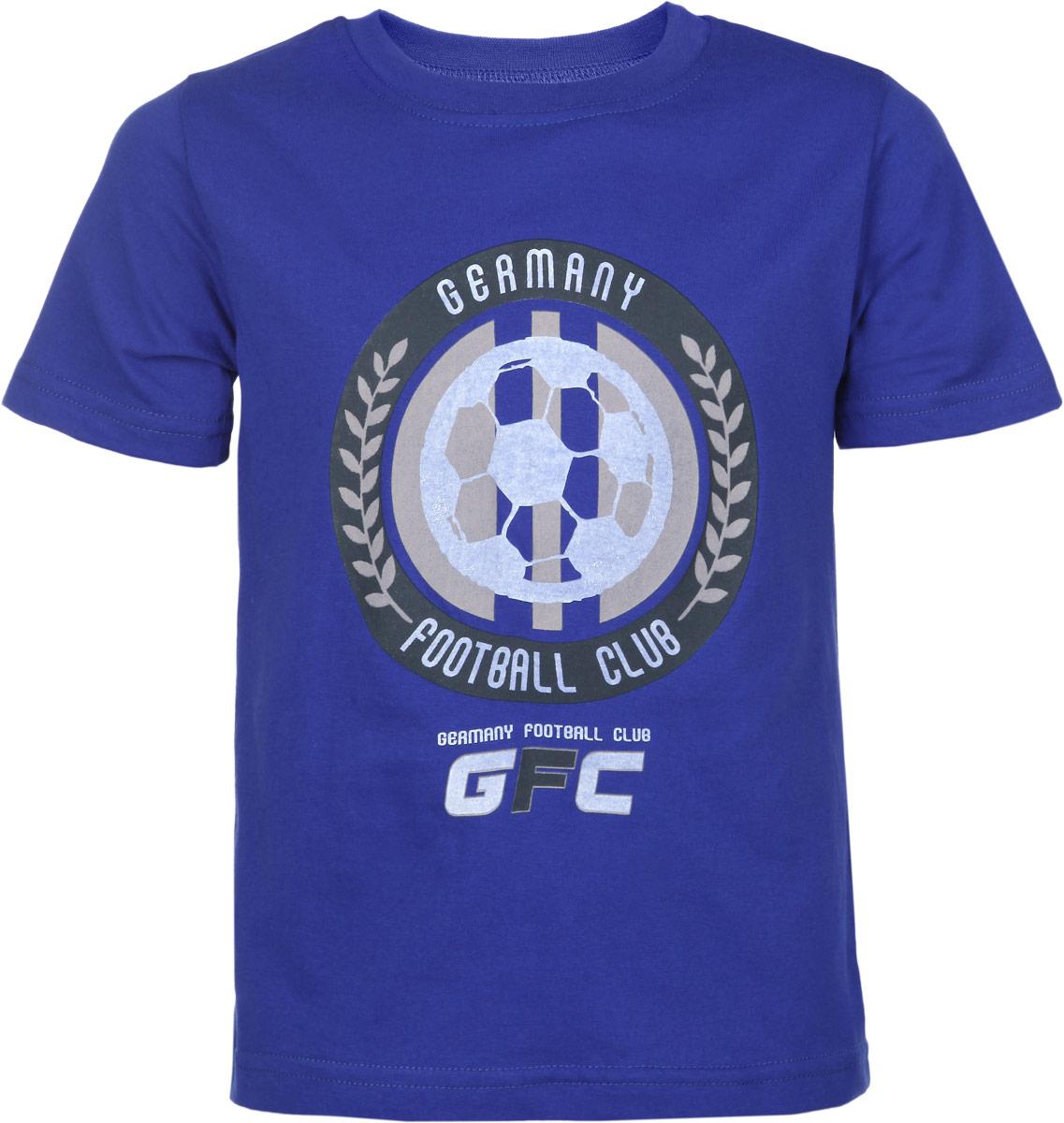 Футболка для мальчика Germany Football Club. 1408514085Стильная футболка для мальчика КотМарКот Germany Football Club идеально подойдет вашему ребенку. Изготовленная из натурального хлопка, она необычайно мягкая и приятная на ощупь, не сковывает движения и позволяет коже дышать, не раздражает даже самую нежную и чувствительную кожу ребенка, обеспечивая ему наибольший комфорт. Футболка с круглым вырезом горловины спереди оформлена оригинальной термоаппликацией на футбольную тематику. Вырез горловины дополнен трикотажной эластичной резинкой. Современный дизайн и расцветка делают эту футболку модным, и стильным предметом детского гардероба. В ней ваш маленький модник всегда будет в центре внимания!