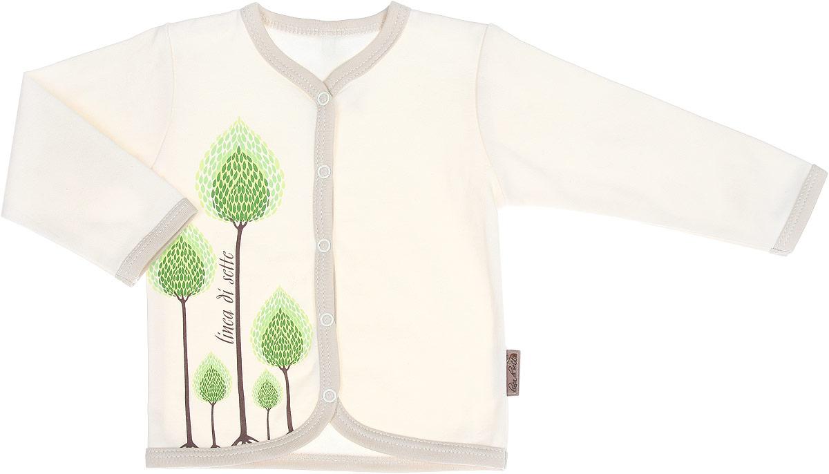 Кофточка Сказочный лес. 02-070102-0701Кофточка Linea Di Sette Сказочный лес станет отличным дополнением к гардеробу вашего ребенка. Изделие изготовлено из высококачественного органического полотна в соответствии с принятыми стандартами. Органический хлопок - это безвредная альтернатива традиционному хлопку, ткани из него не вредят нежной коже малыша, а также их производство безопасно для окружающей среды. Органический хлопок очень мягкий, отлично пропускает воздух, обеспечивая максимальный комфорт. Кофточка с V-образным вырезом горловины и длинными рукавами застегивается спереди на кнопки по всей длине, что позволяет с легкостью переодеть ребенка. Модель оформлена принтом с изображением деревьев, выполненным безопасными водными красками. Кофточка полностью соответствует особенностям жизни ребенка в ранний период, не стесняя и не ограничивая его в движениях. В ней ваш младенец всегда будет в центре внимания.