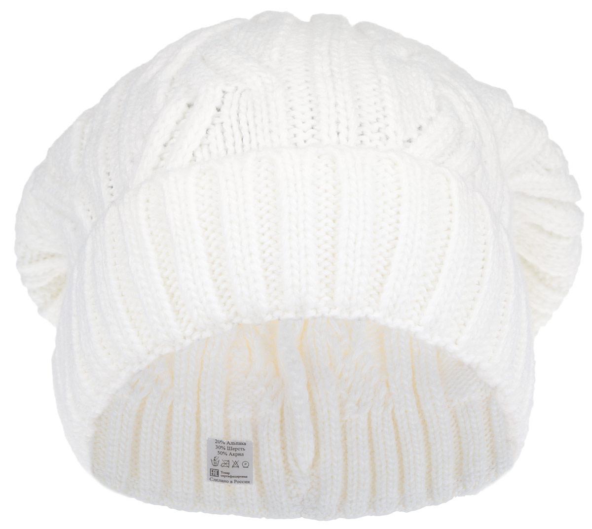 Шапка женская. 2-0012-001-001Стильная женская шапка Flioraj дополнит ваш наряд и не позволит вам замерзнуть в холодное время года. Шапка выполнена из высококачественной комбинированной пряжи из шерсти и акрила с добавлением альпаки, что позволяет ей великолепно сохранять тепло и обеспечивает высокую эластичность и удобство посадки. Шапка оформлена объемным вязаным узором и дополнена эластичной резинкой снизу. Такая шапка станет модным и стильным дополнением вашего зимнего гардероба, великолепно подойдет для активного отдыха и занятия спортом. Она согреет вас и позволит вам подчеркнуть свою индивидуальность! Уважаемые клиенты! Размер, доступный для заказа, является обхватом головы.