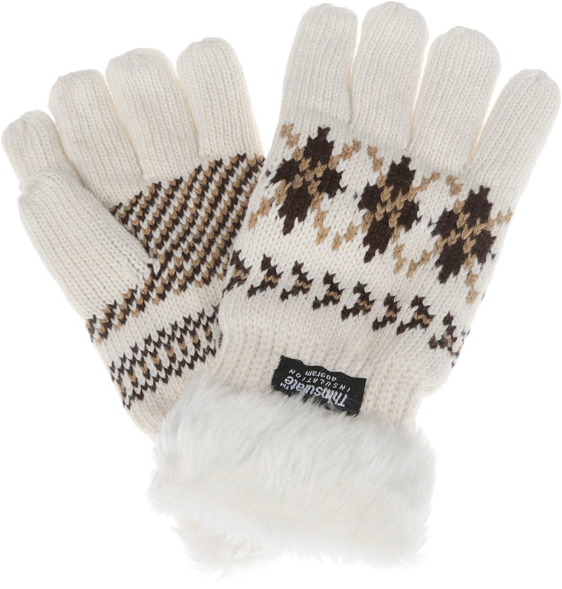 Перчатки женские. W45W45Теплые вязаные женские перчатки Modo Gru станут великолепным дополнением вашего образа и защитят ваши руки от холода и ветра во время прогулок. Перчатки выполнены из шерсти с добавлением нейлона, подкладка выполнена из флиса и уникального утеплителя Thinsulate, что позволяет перчаткам надежно сохранять тепло, великолепно отводить влагу от тела и обеспечивает удобство и комфорт при носке. Модель оформлена стильным скандинавским орнаментом и дополнена искусственным мехом по краю манжеты. Такие перчатки будут оригинальным завершающим штрихом в создании современного модного образа, они подчеркнут ваш изысканный вкус и станут незаменимым и практичным аксессуаром.
