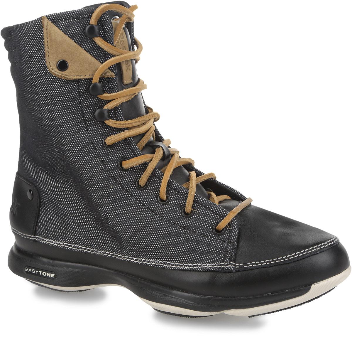 Кроссовки для тренинга женские Easytone too trendy. J90634J90634Невероятно стильные женские кроссовки от Reebok Easytone too trendy предназначены для использования в качестве зимних сапог для легких походов, туризма, активного отдыха и зимней повседневной обуви, для носки на сырых и холодных городских улицах. Модель выполнена из комбинации текстиля и натуральной кожи. Верх изделия оформлен шнуровкой с металлическими люверсами, которая гарантирует надежную фиксацию на стопе. Подкладка и съемная анатомическая стелька, исполненные из текстиля, и язычок - из искусственного меха способствуют поддержанию оптимального микроклимата. Обувь декорирована светлой прострочкой по ранту, а по бокам и на язычке нашивкой контрастного цвета из нубука. Задник дополнен тиснением в виде логотипа бренда. Промежуточная подошва из ЭВА предназначена для невероятной гибкости и отличного управления. Подошва с рельефным протектором обеспечивает сцепление с любой поверхностью. В таких кроссовках вашим ногам будет максимально комфортно.