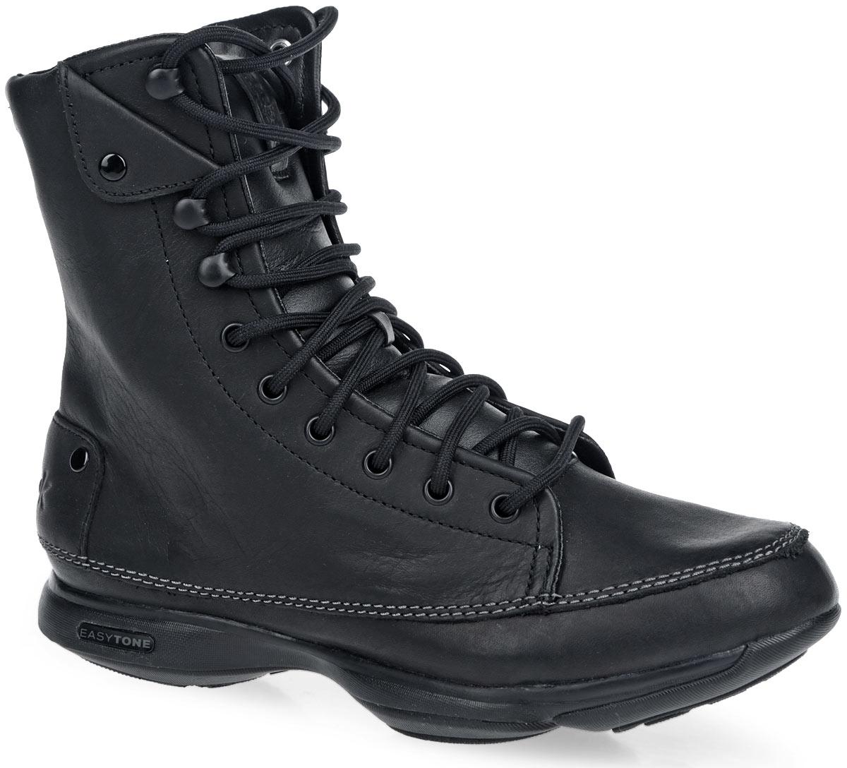 Кроссовки для тренинга женские Easytone too trendy. J90631J90631Невероятно стильные женские кроссовки от Reebok Easytone too trendy предназначены для использования в качестве зимних сапог для легких походов, туризма, активного отдыха и зимней повседневной обуви, для носки на сырых и холодных городских улицах. Модель выполнена из натуральной кожи. Верх изделия оформлен шнуровкой с металлическими люверсами, которая гарантирует надежную фиксацию на стопе. Подкладка и съемная анатомическая стелька, исполненные из текстиля, и язычок - из искусственного меха способствуют поддержанию оптимального микроклимата. Обувь декорирована светлой прострочкой по ранту, а по бокам и на язычке нашивкой из кожи. На язычке нашивка выступает в роли ярлычка. Задник дополнен тиснением в виде логотипа бренда. Промежуточная подошва из ЭВА предназначена для невероятной гибкости и отличного управления. Подошва с рельефным протектором обеспечивает сцепление с любой поверхностью. В таких кроссовках вашим ногам будет максимально комфортно.