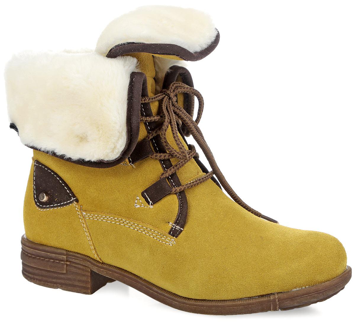 Ботинки женские. 187-05187-05Стильные женские ботинки от Vigorous покорят вас своим удобством. Модель выполнена из натурального спилока. Верх изделия дополнен меховыми отворотами на кнопках. Шнуровка надежно фиксирует модель на ноге. Подкладка и стелька из искусственной шерсти сохранят ваши ноги в тепле. Каблук и подошва с рельефным протектором обеспечивает отличное сцепление на любой поверхности. В таких ботинках вашим ногам будет комфортно и уютно. Они подчеркнут ваш стиль и индивидуальность.