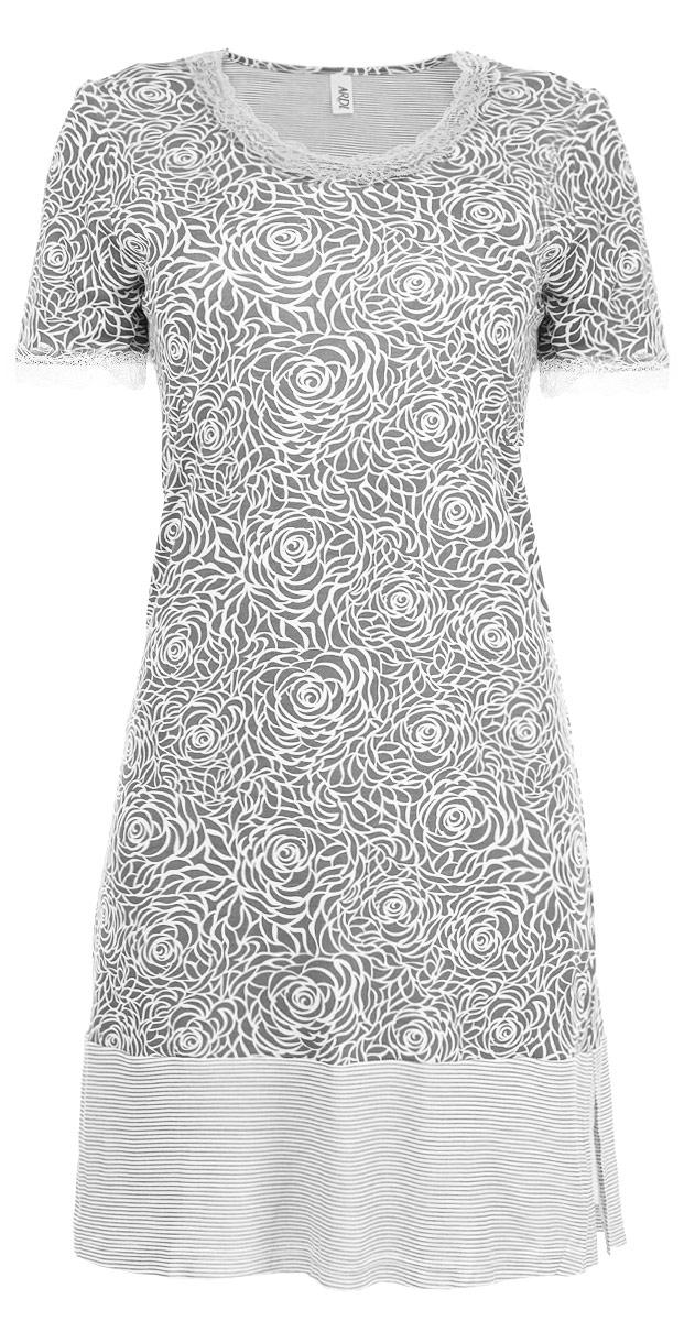 R1550-44Ночная сорочка Ardi, выполненная из комбинированного материала, необычайно мягкая и приятная на ощупь. Модель прямого кроя с круглым вырезом горловины и короткими рукавами оформлена нежным цветочным принтом. Закругленный вырез горловины и низ рукавов украшены кружевной тесьмой. По низу сорочка оформлена широкой отделкой из ткани в полоску. В боковых швах по низу для удобства есть небольшие разрезы.