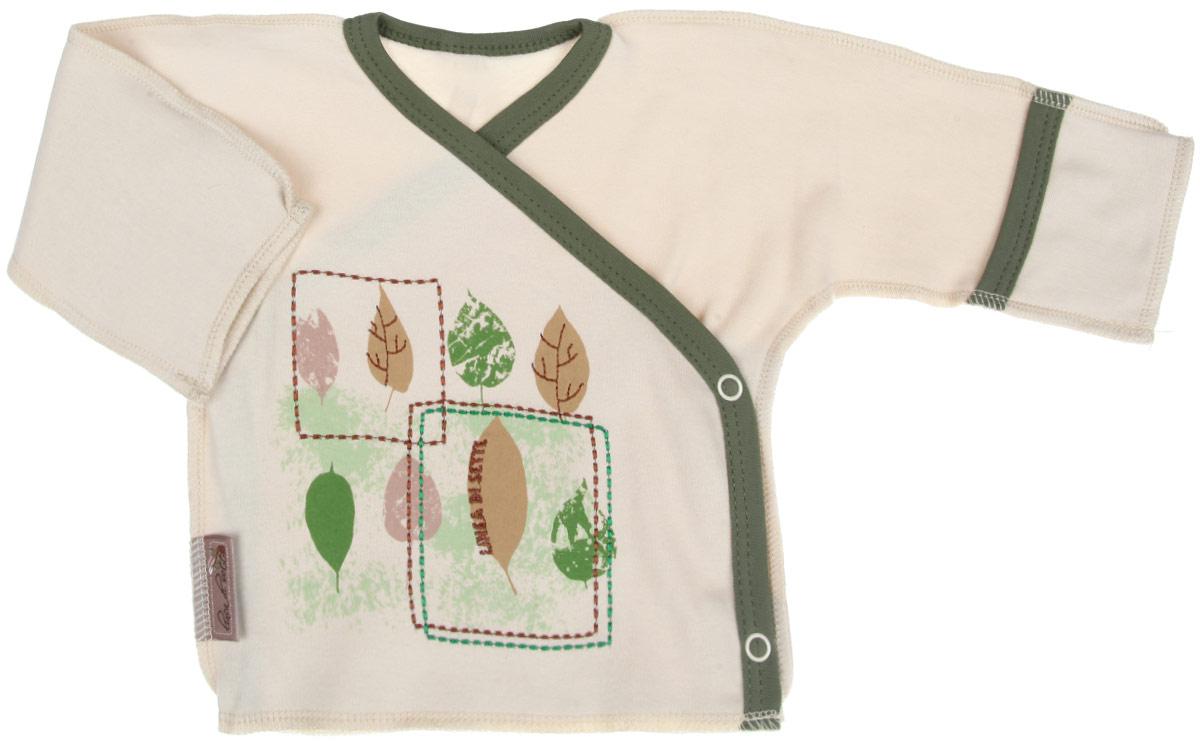 Распашонка05-0401Распашонка-кимоно Linea Di Sette Ботаника послужит идеальным дополнением к гардеробу вашего ребенка. Изделие изготовлено из высококачественного органического полотна в соответствии с принятыми стандартами. Органический хлопок - это безвредная альтернатива традиционному хлопку, ткани из него не вредят нежной коже ребенка, а также их производство безопасно для окружающей среды. Органический хлопок очень мягкий, отлично пропускает воздух, обеспечивая максимальный комфорт. Эластичные швы, выполненные наружу, приятны телу младенца и не препятствуют его движениям. Распашонка с длинными рукавами-кимоно и V-образным вырезом горловины застегивается с помощью кнопок по принципу кимоно, что помогает с легкостью переодеть кроху. Рукава дополнены специальными отворотами-рукавичками, благодаря которым ребенок не поцарапает себя. Ручки могут быть как открытыми, так и закрытыми. Модель оформлена принтом с изображением листочков, а также вышивкой. Распашонка полностью соответствует...