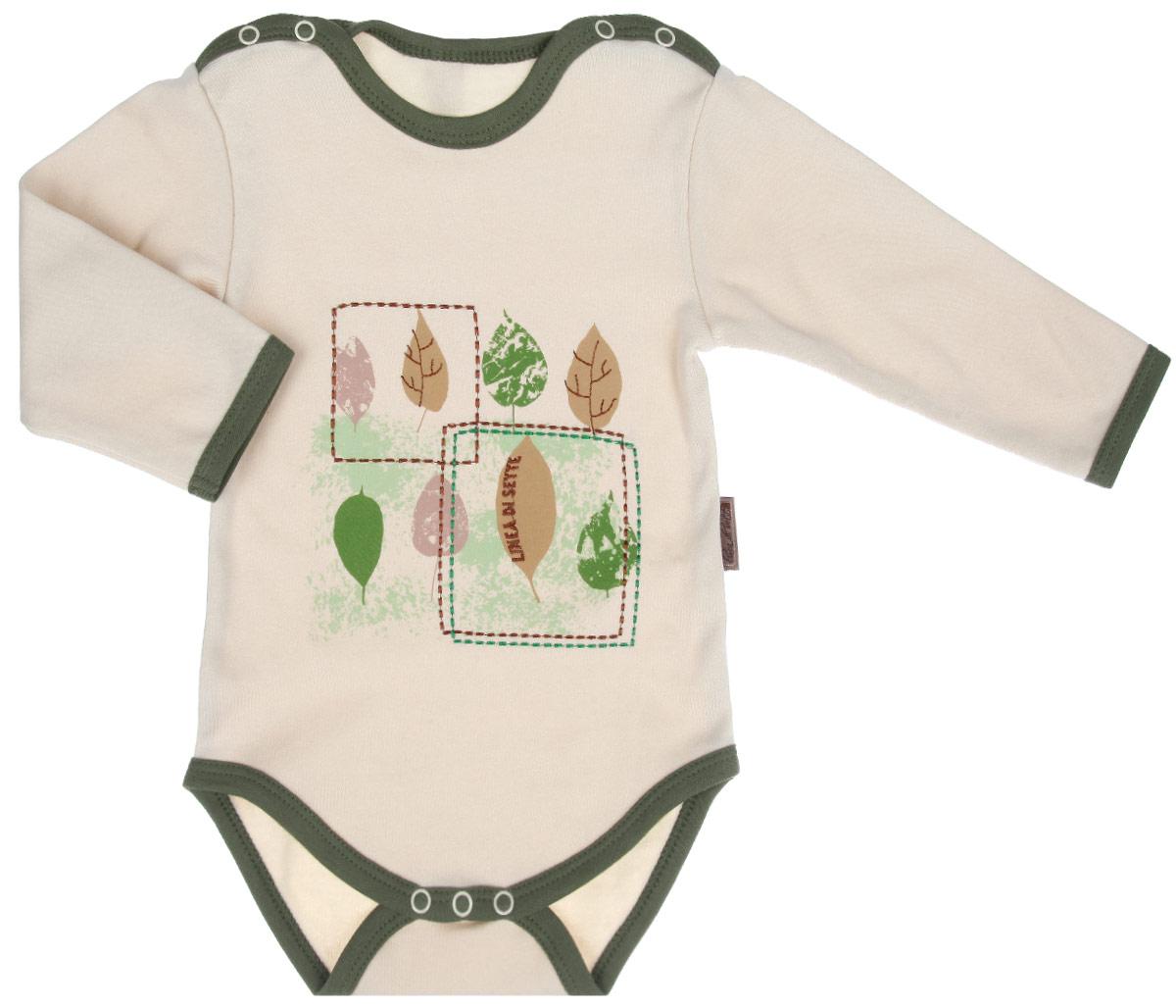Боди детское Ботаника. 05-090105-0901Детское боди Linea Di Sette Ботаника станет идеальным дополнением к гардеробу вашего ребенка. Изделие изготовлено из высококачественного органического полотна в соответствии с принятыми стандартами. Органический хлопок - это безвредная альтернатива традиционному хлопку, ткани из него не вредят нежной коже малыша, а также их производство безопасно для окружающей среды. Органический хлопок очень мягкий, отлично пропускает воздух, обеспечивая максимальный комфорт. Боди с длинными рукавами и круглым вырезом горловины имеет застежки-кнопки по плечевому шву и на ластовице, что позволяет легко переодеть младенца или сменить подгузник. Спереди модель украшена принтом с изображением листочков, а также вышивкой. Боди полностью соответствует особенностям жизни ребенка в ранний период, не стесняя и не ограничивая его в движениях. В нем кроха будет чувствовать себя комфортно, уютно и всегда будет в центре внимания!