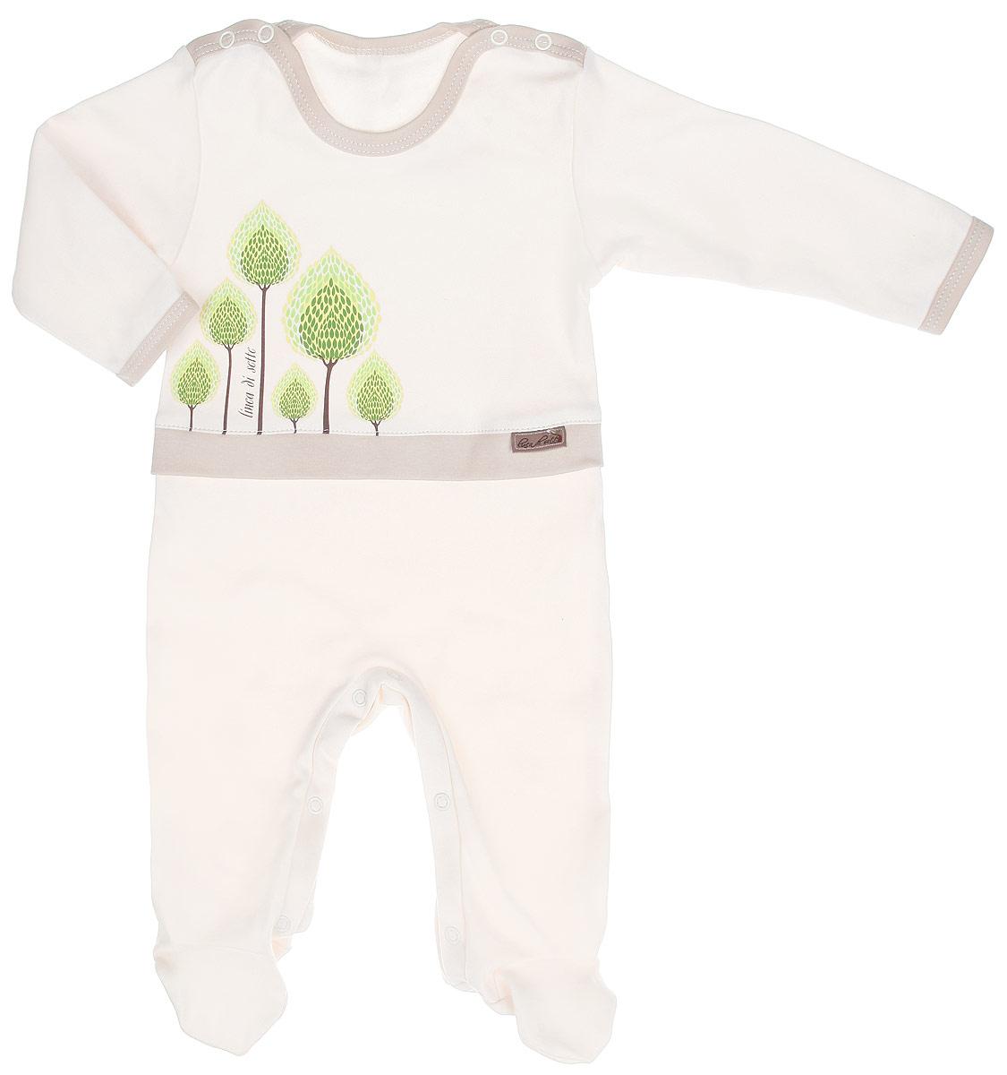 Комбинезон детский Сказочный лес. 02-060302-0603Детский комбинезон Linea Di Sette Сказочный лес станет идеальным дополнением к гардеробу вашего ребенка. Изделие изготовлено из высококачественного органического полотна в соответствии с принятыми стандартами. Органический хлопок - это безвредная альтернатива традиционному хлопку, ткани из него не вредят нежной коже малыша, а также их производство безопасно для окружающей среды. Органический хлопок очень мягкий, отлично пропускает воздух, обеспечивая максимальный комфорт. Комбинезон с круглым вырезом горловины, длинными рукавами и закрытыми ножками имеет застежки-кнопки по плечевому шву и на ластовице, которые помогают легко переодеть младенца или сменить подгузник. Оформлена модель принтом с изображением деревьев, который выполнен безопасными водными красками. Изделие полностью соответствует особенностям жизни ребенка в ранний период, не стесняя и не ограничивая его в движениях. В таком комбинезоне кроха будет чувствовать себя комфортно, уютно и всегда ...