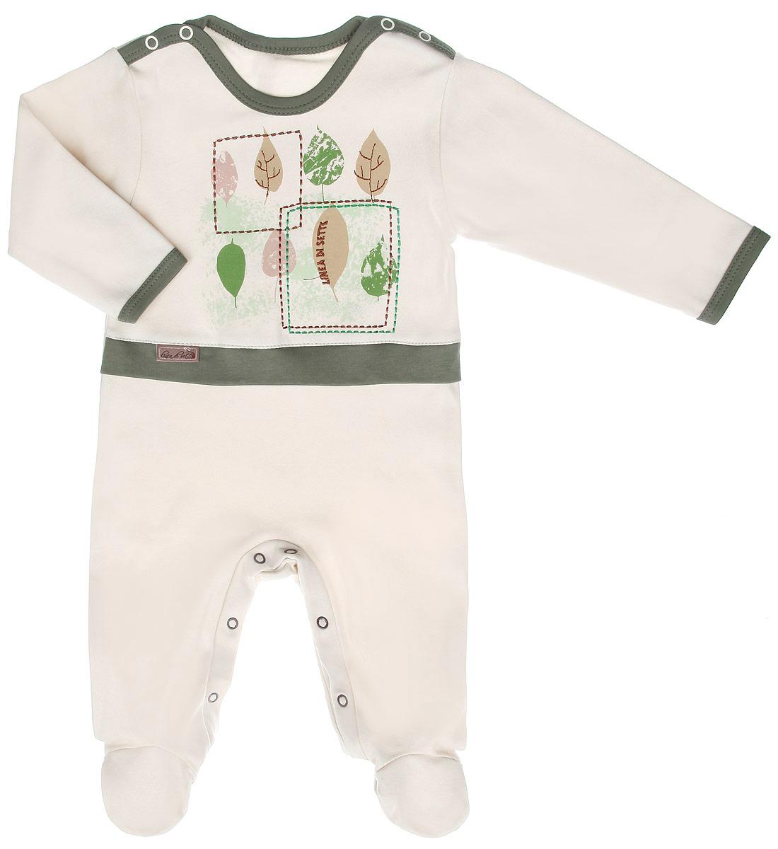Комбинезон детский Ботаника. 05-060305-0603Детский комбинезон Linea Di Sette Ботаника станет идеальным дополнением к гардеробу вашего ребенка. Изделие изготовлено из высококачественного органического полотна в соответствии с принятыми стандартами. Органический хлопок - это безвредная альтернатива традиционному хлопку, ткани из него не вредят нежной коже малыша, а также их производство безопасно для окружающей среды. Органический хлопок очень мягкий, отлично пропускает воздух, обеспечивая максимальный комфорт. Комбинезон с круглым вырезом горловины, длинными рукавами и закрытыми ножками имеет застежки-кнопки по плечевому шву и на ластовице, которые помогают легко переодеть младенца или сменить подгузник. Спереди, по линии талии модель дополнена контрастной вставкой. Оформлен комбинезон принтом с изображением листочков, а также украшен вышивкой. Изделие полностью соответствует особенностям жизни ребенка в ранний период, не стесняя и не ограничивая его в движениях. В таком комбинезоне кроха будет...