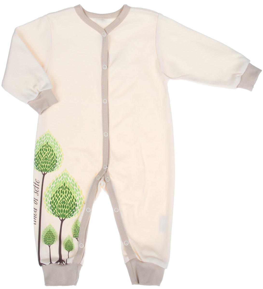 Комбинезон домашний02-0601Детский комбинезон Linea Di Sette Сказочный лес станет идеальным дополнением к гардеробу вашего ребенка. Изделие изготовлено из высококачественного органического полотна в соответствии с принятыми стандартами. Органический хлопок - это безвредная альтернатива традиционному хлопку, ткани из него не вредят нежной коже малыша, а также их производство безопасно для окружающей среды. Органический хлопок очень мягкий, отлично пропускает воздух, обеспечивая максимальный комфорт. Комбинезон с V-образным вырезом горловины, длинными рукавами и открытыми ножками имеет застежки- кнопки от горловины до щиколоток, которые помогают легко переодеть младенца или сменить подгузник. Рукава и брючины дополнены мягкими широкими манжетами. Модель оформлена принтом с изображением деревьев, выполненным безопасными водными красками. Изделие полностью соответствует особенностям жизни ребенка в ранний период, не стесняя и не ограничивая его в движениях. В таком комбинезоне кроха...