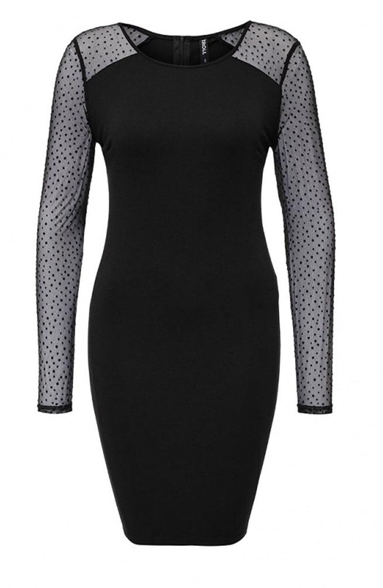 TSU0485CAЭлегантное платье Troll выполнено из высококачественного комбинированного материала. Такое платье обеспечит вам комфорт и удобство при носке. Модель с длинными рукавами и круглым вырезом горловины выгодно подчеркнет все достоинства вашей фигуры благодаря приталенному силуэту. Изделие застегивается на застежку-молнию на спинке. Рукава платья выполнены из полупрозрачного материала. Изысканное платье-миди создаст обворожительный и неповторимый образ. Это модное и удобное платье станет превосходным дополнением к вашему гардеробу, оно подарит вам удобство и поможет вам подчеркнуть свой вкус и неповторимый стиль.
