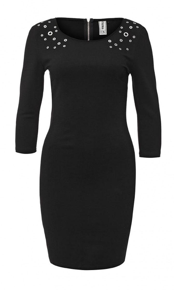 Платье. TSU0482CATSU0482CAЭлегантное платье Troll выполнено из высококачественного комбинированного материала. Такое платье обеспечит вам комфорт и удобство при носке. Модель с рукавами 3/4 и круглым вырезом горловины выгодно подчеркнет все достоинства вашей фигуры благодаря приталенному силуэту. Изделие застегивается на застежку-молнию на спинке. Платье оснащено подплечниками и оформлено металлическими заклепками на плечах. Изысканное платье-миди создаст обворожительный и неповторимый образ. Это модное и удобное платье станет превосходным дополнением к вашему гардеробу, оно подарит вам удобство и поможет вам подчеркнуть свой вкус и неповторимый стиль.