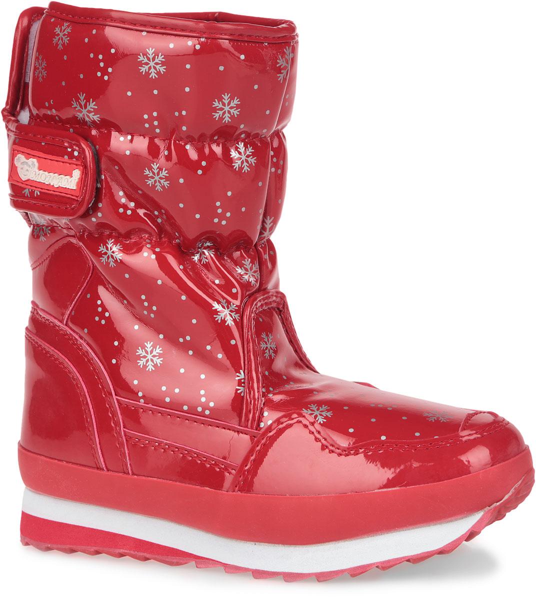 Дутики женские. RC825-2-42RC825-2-42/BRIGHT REDПрактичные и удобные женские дутики от Mon Ami - отличный вариант на каждый день. Модель выполнена из искусственной лаковой кожи и декорирована оригинальным рисунком в виде снежинок. По ранту обувь дополнена вставкой из полимерного материала. Верх изделия оформлен двумя удобными застежками-липучками, которые надежно фиксируют модель на ноге и регулируют объем. Подкладка и анатомическая стелька, изготовленные из искусственного меха, согреют ноги в мороз и обеспечат уют. Сбоку дутики украшены нашивкой из ПВХ с логотипом бренда. Подошва из полимерного термопластичного материала - с противоскользящим рифлением. Удобные дутики придутся вам по душе.