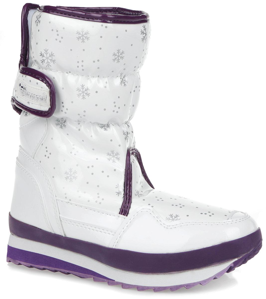 RC825-2-59/WHITE+ROYALПрактичные и удобные женские дутики от Mon Ami - отличный вариант на каждый день. Модель выполнена из искусственной лаковой кожи с отделкой контрастного цвета и декорирована оригинальным рисунком в виде снежинок. По ранту обувь дополнена вставкой из полимерного материала. Верх изделия оформлен двумя удобными застежками-липучками, которые надежно фиксируют модель на ноге и регулируют объем. Подкладка и анатомическая стелька, изготовленные из искусственного меха, согреют ноги в мороз и обеспечат уют. Сбоку дутики украшены нашивкой из ПВХ с логотипом бренда. Подошва из полимерного термопластичного материала - с противоскользящим рифлением. Удобные дутики придутся вам по душе.