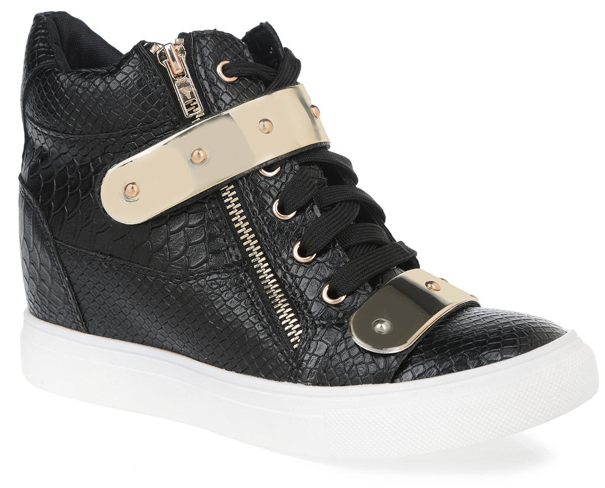 Сникерсы женские. 60286028-2/YELLOWОригинальные женские сникерсы Burlesque заинтересуют вас своим дизайном. Модель выполнена из искусственной кожи, оформленной тиснением под рептилию. Верх изделия дополнен шнуровкой и ремешком на застежке-липучке, которые надежно зафиксируют обувь на ноге и отрегулируют объем. С одной из боковых сторон сникерсы украшены функциональной металлической молнией, а с другой - декоративной. Подкладка, изготовленная из текстиля, и стелька - из ЭВА материала с покрытием из искусственной кожи, обеспечат ногам уют. Область подъема и голенище декорированы пластиковыми пластинами. Танкетка умеренной высоты - устойчива. Подошва из полимерного термопластичного материала с рельефным протектором обеспечивает отличное сцепление с любой поверхностью. В этих сникерсах вашим ногам будет комфортно и уютно. Они подчеркнут ваш стиль и индивидуальность.