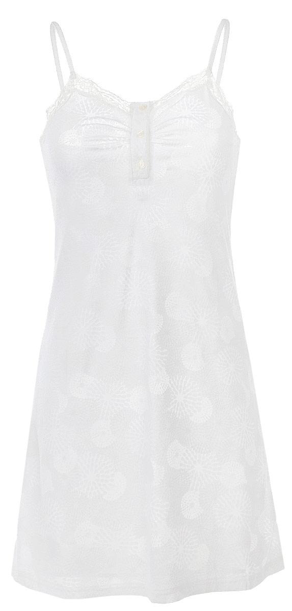 Сорочка женская. R1550-42R1550-42Ночная сорочка Ardi, выполненная из комбинированного материала, необычайно мягкая и приятная на ощупь. Модель из однотонного полотна с цветочным рисунком, выполненным в технике вытравленного рисунка, так называемое деворе. Сорочка слегка приталенная, длина выше уровня колен, на тонких регулирующихся бретелях. Спереди планка ниже уровня груди с петлями и пуговицами. На груди от планки небольшие мягкие складки. По верхнему краю красивая отделка из узкого кружева. Сзади открытая прямая спинка.