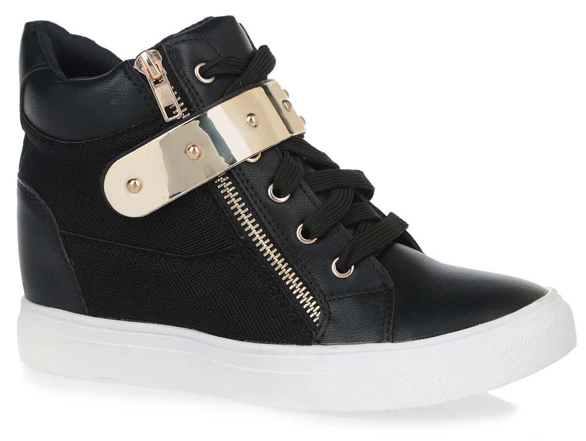 Сникерсы женские. 5128-15128-1/BLACKОригинальные женские сникерсы Burlesque займут достойное место в вашем гардеробе. Модель выполнена из комбинации искусственной кожи и текстиля с сетчатой поверхностью. Верх изделия оформлен шнуровкой и ремешком на застежке-липучке, которые надежно зафиксируют обувь на ноге и отрегулируют объем. Подкладка, изготовленная из текстиля, и стелька - из ЭВА материала с покрытием из искусственной кожи, обеспечат ногам уют. По бокам сникерсы дополнены металлическими молниями, одна из которых функциональная, а другая - декоративная. Танкетка умеренной высоты - устойчива. Подошва из полимерного термопластичного материала с рельефным протектором обеспечивает отличное сцепление с любой поверхностью. В этих сникерсах вашим ногам будет комфортно и уютно. Они подчеркнут ваш стиль и индивидуальность.