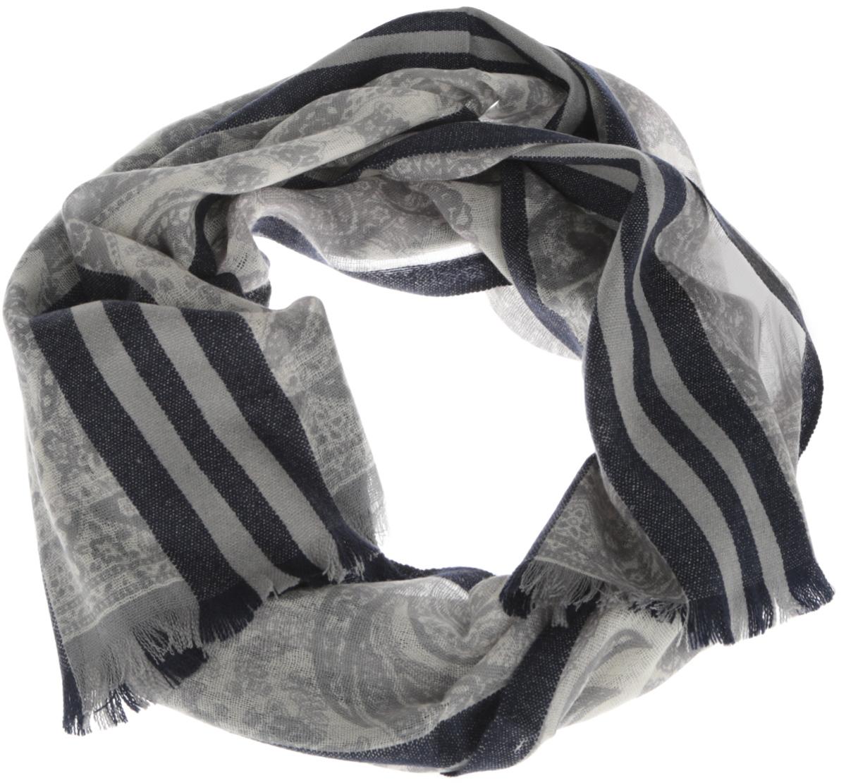 ШарфU41-5566Элегантный мужской шарф Eleganzza согреет вас в холодное время года, а также станет изысканным аксессуаром, который призван подчеркнуть ваш стиль и индивидуальность. Оригинальный и стильный шарф выполнен из высококачественной 100% шерсти мериноса, он оформлен изысканным орнаментом в восточном стиле и украшен тонкой бахромой по краю. Такой шарф станет превосходным дополнением к любому наряду, защитит вас от ветра и холода, и позволит вам создать свой неповторимый стиль.