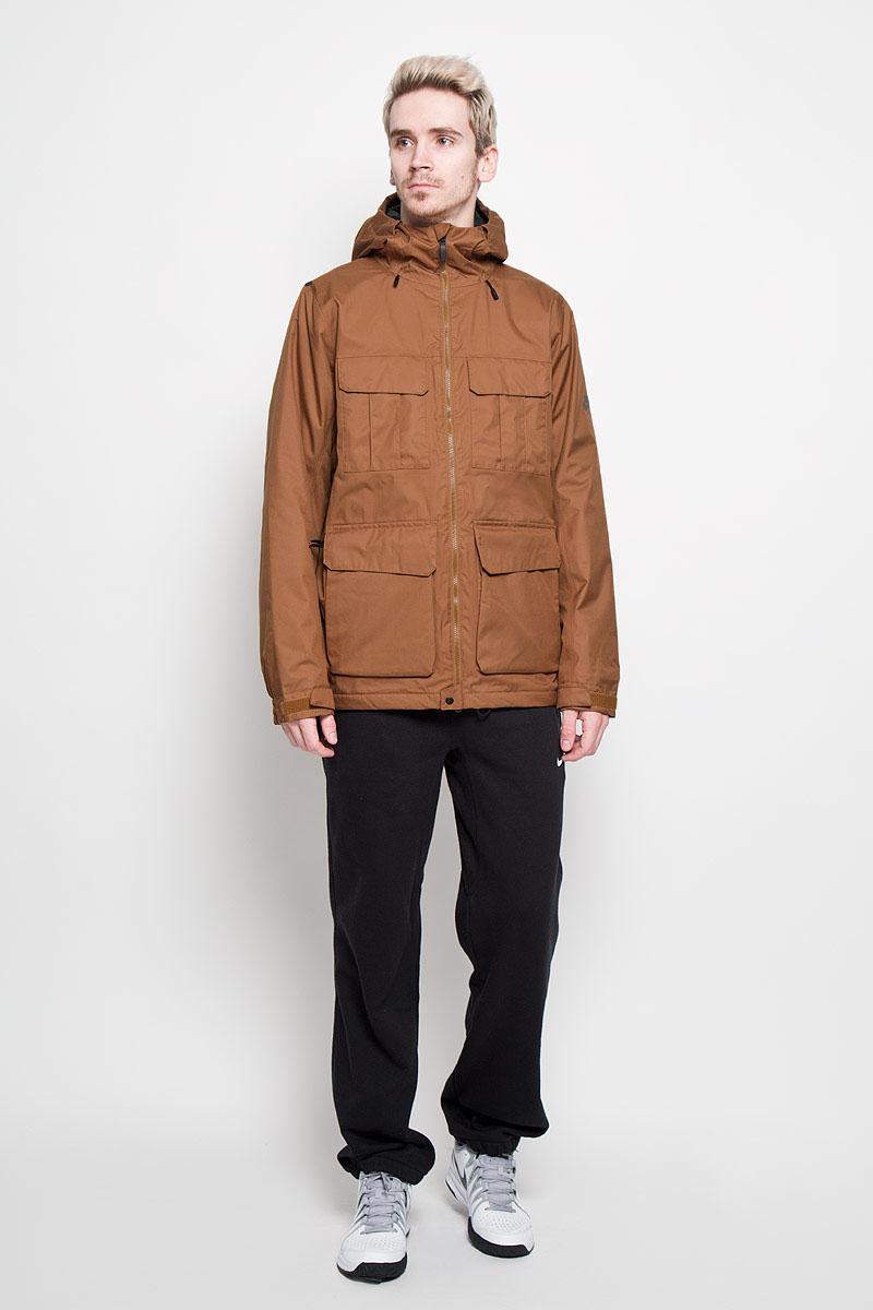 Парка682819-234Стильная мужская парка Nike Empire Jacket, выполненная из практичного ветрозащитного материала, обеспечит максимальный комфорт при различных погодных условиях. Модель с несъемным капюшоном и длинными рукавами спереди застегивается на пластиковую застежку-молнию. Манжеты изделия прострочены эластичной резинкой и дополнены хлястиками на липучках для регулировки обхвата. Подмышками имеются вентиляционные отверстия на молнии. Спереди модель дополнена четырьмя накладными карманами с клапанами на липучках. С внутренней стороны имеется втачной карман на липучках. Эта теплая парка станет отличным дополнением к вашему гардеробу!