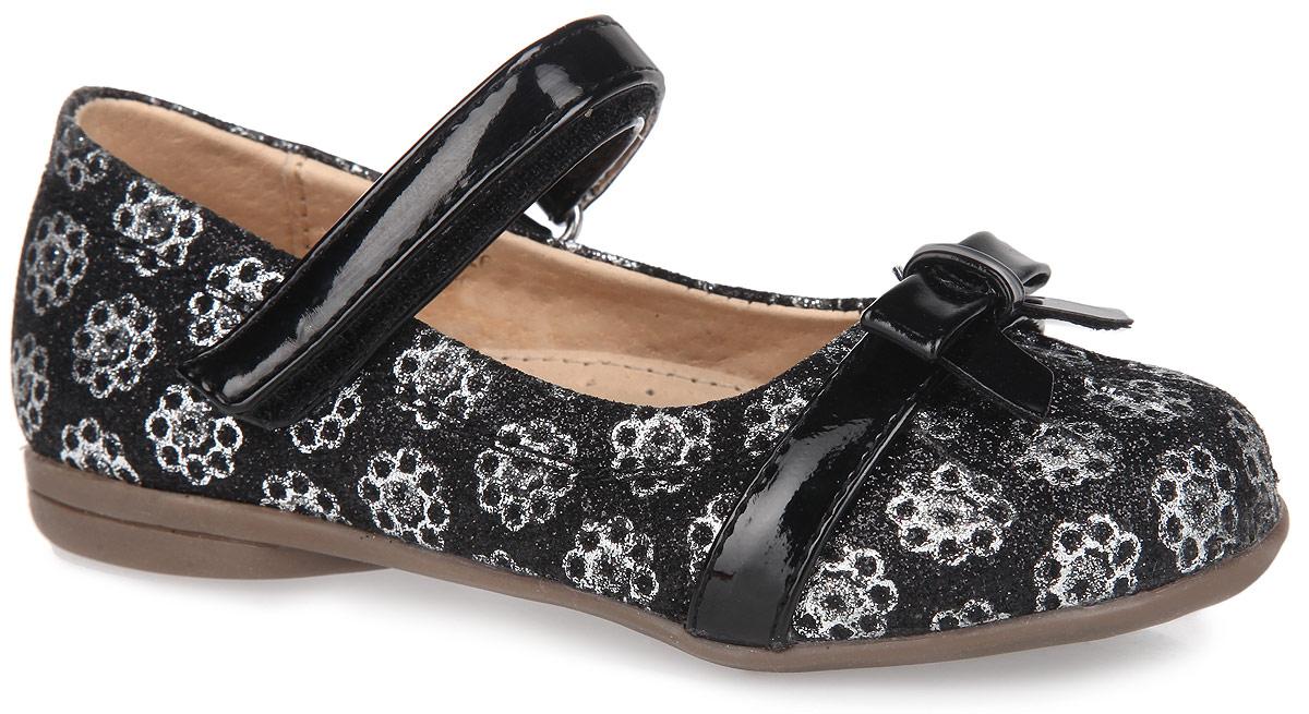 Туфли для девочки. 12-26412-264Очаровательные туфли для девочки от Аллигаша подойдут как для праздника, так и для ежедневной носки. Модель выполнена из комбинации искусственной кожи разной фактуры и оформлена по верху блестками, а также изображениями в виде цветов. Подъем дополнен удобной застежкой-липучкой, которая обеспечит практичную фиксацию модели на ноге и отрегулирует объем. Внутренняя отделка и стелька с супинатором, обеспечивающим правильное положение ноги ребенка при ходьбе и предотвращающим плоскостопие, изготовлены из натуральной кожи. Мыс туфель украшен декоративным ремешком с бантиком. Невысокий каблук и подошва с рифленой поверхностью защищают изделие от скольжения. Стильные туфли займут достойное место в гардеробе вашей малышки.