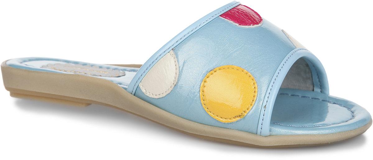 11-39Яркие, летние шлепанцы от торговой марки Аллигаша не оставят равнодушной вашу юную модницу! Модель изготовлена из высококачественной искусственной лаковой кожи. Верх изделия оформлен нашивками контрастного цвета в виде гороха. Подкладка, изготовленная из натуральной кожи, обеспечит ножкам комфорт и уют. Стелька исполнена из комбинации натуральной и искусственной кожи. Рифленая поверхность подошвы защищает изделие от скольжения. Очаровательные шлепанцы приведут в восторг вашу доченьку!