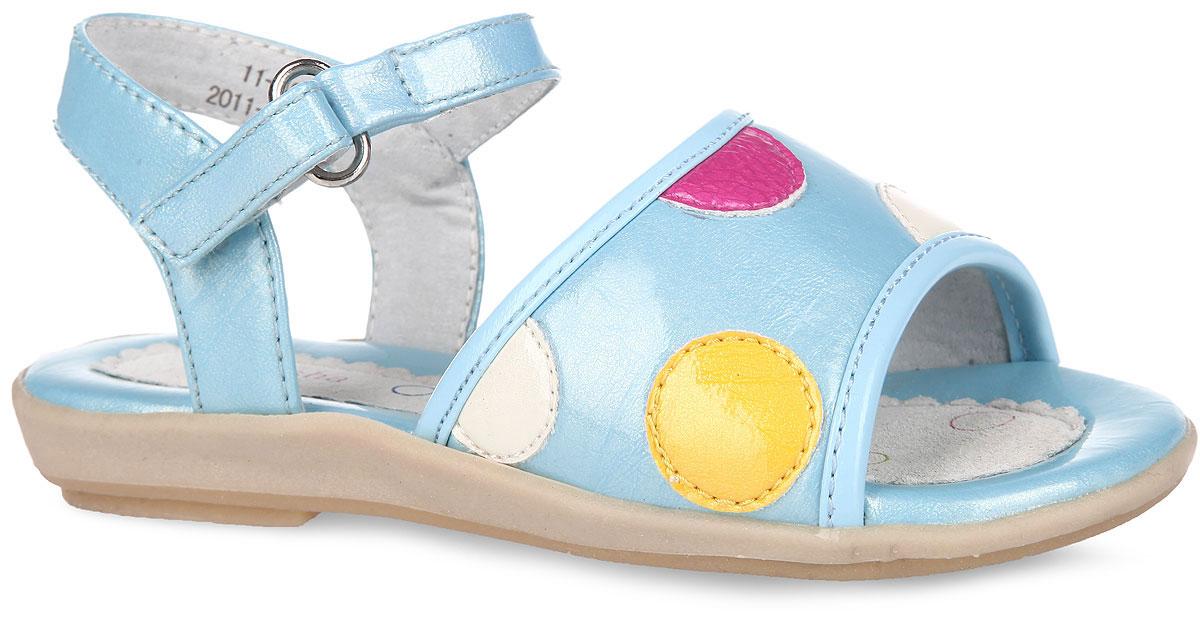 Сандалии для девочки. 11-4011-40Яркие, летние сандалии от Аллигаша покорят вашу девочку с первого взгляда! Модель выполнена из искусственной лаковой кожи с блестящей поверхностью. Верх изделия оформлен нашивками контрастного цвета в виде гороха. Удобная застежка-липучка обеспечивает практичную фиксацию модели на ноге. Подкладка, изготовленная из натуральной кожи, обеспечит ножкам комфорт и уют. Стелька исполнена из комбинации натуральной и искусственной кожи. Рифленая поверхность подошвы защищает изделие от скольжения. Очаровательные сандалии приведут в восторг вашу доченьку!