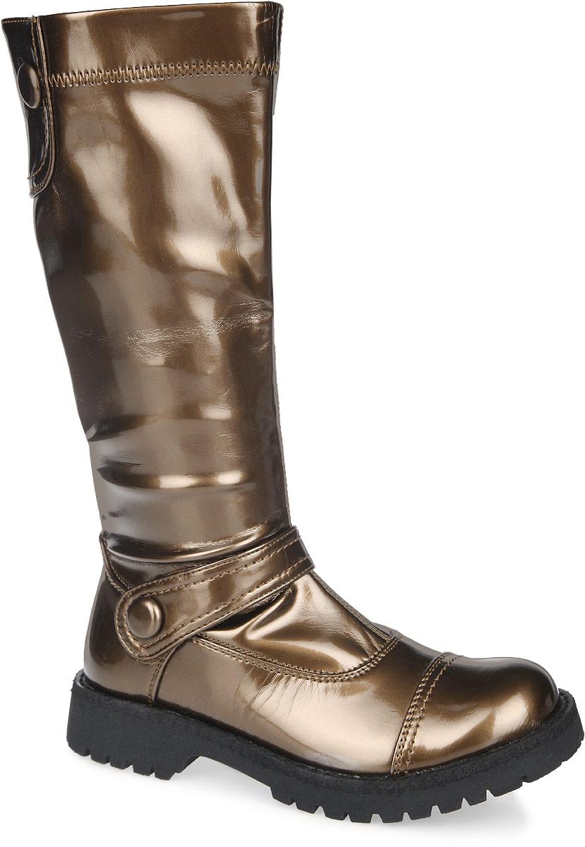 10-74Яркие и модные сапоги от Аллигаша - основа гардероба юной модницы. Модель изготовлена из искусственной лаковой кожи и дополнена хлястиком на липучке. Вдоль ранта сапоги оформлены прострочкой. Подкладка и стелька из мягкого текстиля комфортны при ходьбе. Сапоги застегиваются на застежку-молнию, расположенную на одной из боковых сторон. Каблук и подошва с рельефной поверхностью предотвращают скольжение. Стильные сапожки прекрасно дополнят любой из образов вашей девочки.