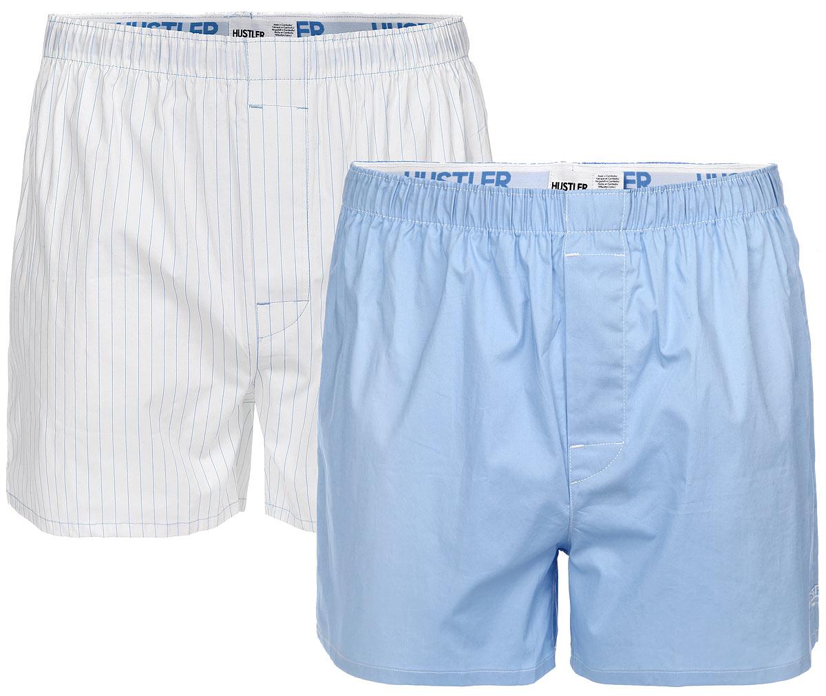 Трусы-шорты мужские Blue Line, 2 шт. HUW-10HUW-1009NVYМужские трусы-шорты Hustler Lingerie Blue Line, выполненные из эластичного хлопка, отлично подойдут для повседневной носки. Трусы с гульфиком дополнены на талии широкой резинкой с названием бренда. В комплект входят 2 трусов. Одна модель оформлена принтом в полоску, вторая - однотонная. Сбоку предусмотрена небольшая нашивка с названием бренда.