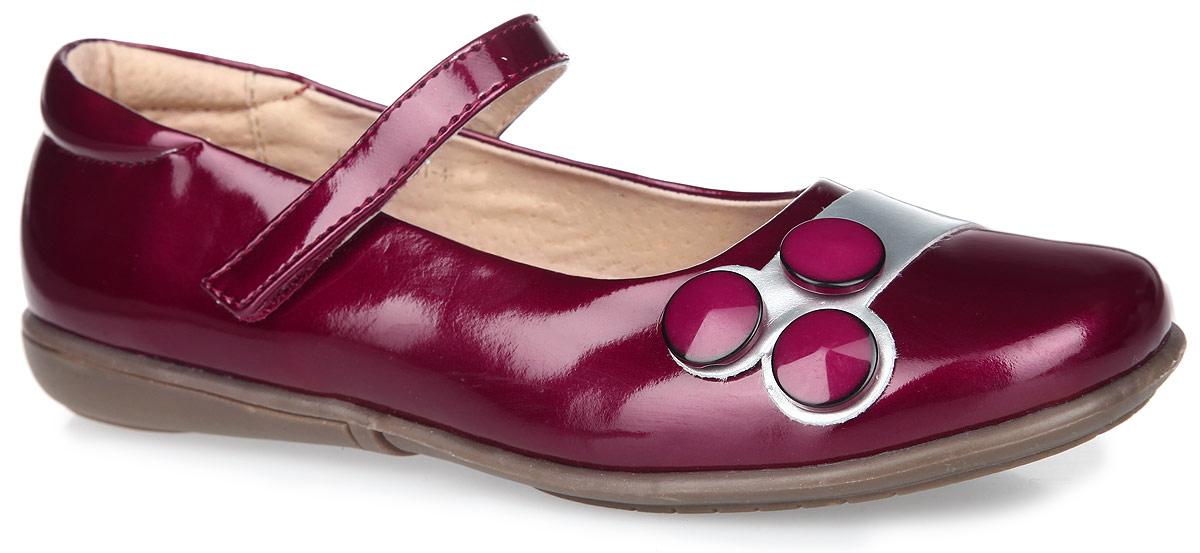 Туфли для девочки. 11-10711-107Стильные туфли от Аллигаша придутся по душе вашей девочке. Модель выполнена из искусственной кожи и оформлена декоративными пуговицами. Внутренняя поверхность и стелька с супинатором, выполненные из натуральной кожи, комфортны при ходьбе. Застегиваются туфли на хлястик с липучкой. Подошва с рифлением защищает изделие от скольжения. Практичные и стильные туфли займут достойное место в гардеробе вашей девочки.