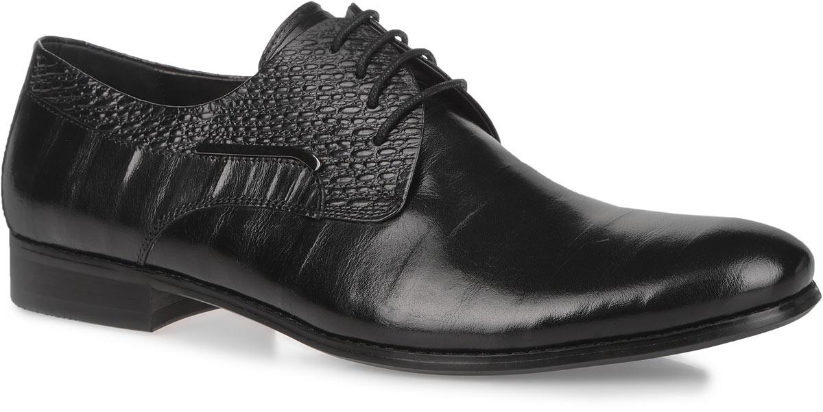 Туфли мужские. 102-17-117102-17-117Элегантные мужские туфли от Dino Ricci займут достойное место среди вашей коллекции обуви. Изделие выполнено из натуральной высококачественной кожи и оформлено сбоку металлической пластиной. Верх модели оформлен тиснением. Стелька из натуральной кожи оснащена перфорацией, позволяющей вашим ногам дышать. Каблук и подошва с рифлением обеспечивают отличное сцепление с поверхностью. Стильные туфли прекрасно дополнят ваш деловой образ.