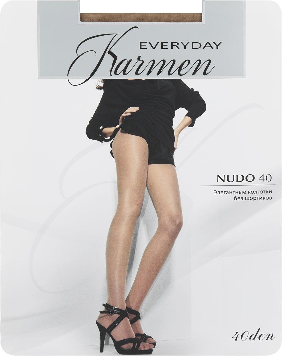 Колготки Nudo 40K-Nudo 40 NeroЭлегантные колготки Karmen Nudo идеально облегают и подчеркивают фигуру, дарят ощущение комфорта и женственности. Модель выполнена из полиамида с добавлением эластана и хлопка. Колготки без шортиков с комфортными плоскими швами имеют мягкий пояс, который плотно облегает талию, обеспечивая удобство. Модель с плоскими швами дополнена укрепленным мыском, хлопковой ластовицей. Плотность 40 Den.