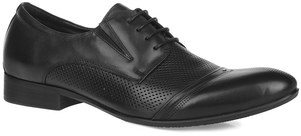 Туфли мужские. 116-18116-18-25Элегантные мужские туфли от Dino Ricci займут достойное место среди вашей коллекции обуви. Модель выполнена из натуральной высококачественной кожи и оформлена перфорацией и задним наружным ремнем. Шнуровка позволяет прочно зафиксировать модель на ноге. Резинки, расположенные на подъеме, обеспечивают оптимальную посадку модели на ноге. Стелька EVA с поверхностью из натуральной кожи оснащена перфорацией, позволяющей вашим ногам дышать. Каблук и подошва с рифлением обеспечивают отличное сцепление с поверхностью. Стильные туфли прекрасно дополнят ваш деловой образ.