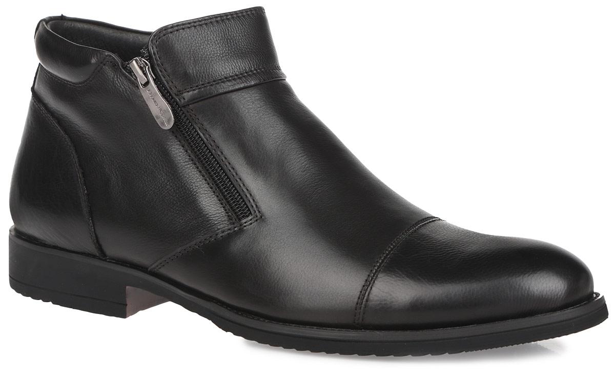 109-119-10 (T)Стильные ботинки Dino Ricci - незаменимая вещь в гардеробе каждого мужчины. Модель выполнена из натуральной кожи и декорирована фактурными швами по верху. Ботинки застегиваются на застежки-молнии, расположенные на боковых сторонах. Подкладка и стелька из мягкой байки комфортны при ходьбе. Невысокий каблук и подошва оснащены противоскользящим рифлением. Элегантные ботинки станут прекрасным завершением вашего модного образа.