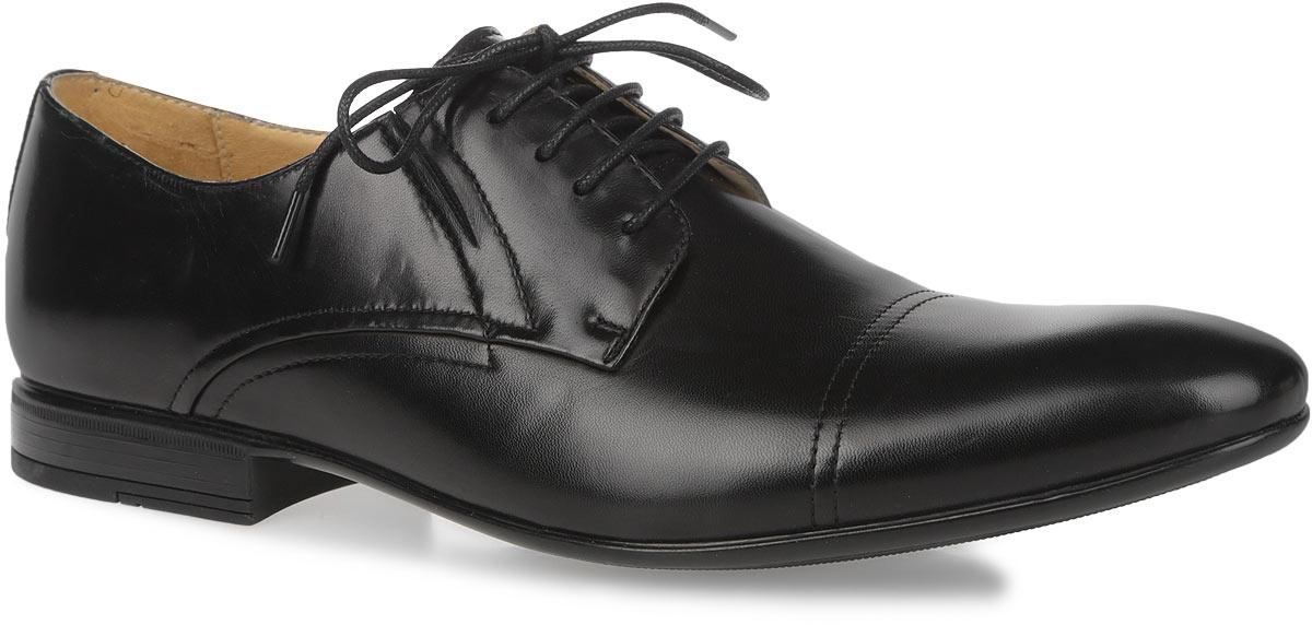 Туфли мужские. M17937M17937Изысканные туфли Vitacci - незаменимая вещь в гардеробе каждого мужчины. Модель выполнена из натуральной высококачественной кожи и декорирована задним наружным ремнем. Шнуровка надежно закрепит модель на ноге. Резинки, расположенные на подъеме, гарантируют оптимальную посадку модели на ноге. Стелька из натуральной кожи комфортна при движении. Умеренной высоты каблук и подошва с рифлением обеспечивают отличное сцепление с поверхностью. Элегантные туфли станут прекрасным завершением вашего модного образа.